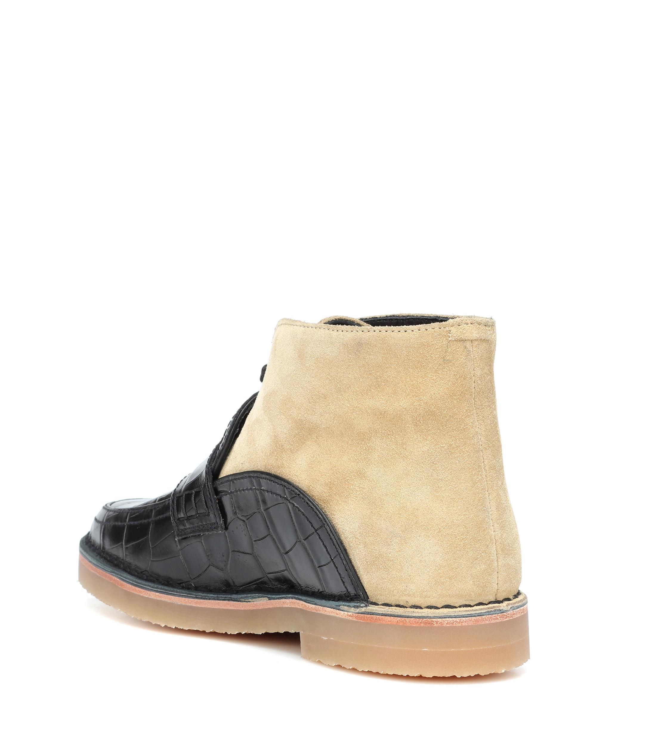 Botines de piel y gamuza Loewe de color Negro