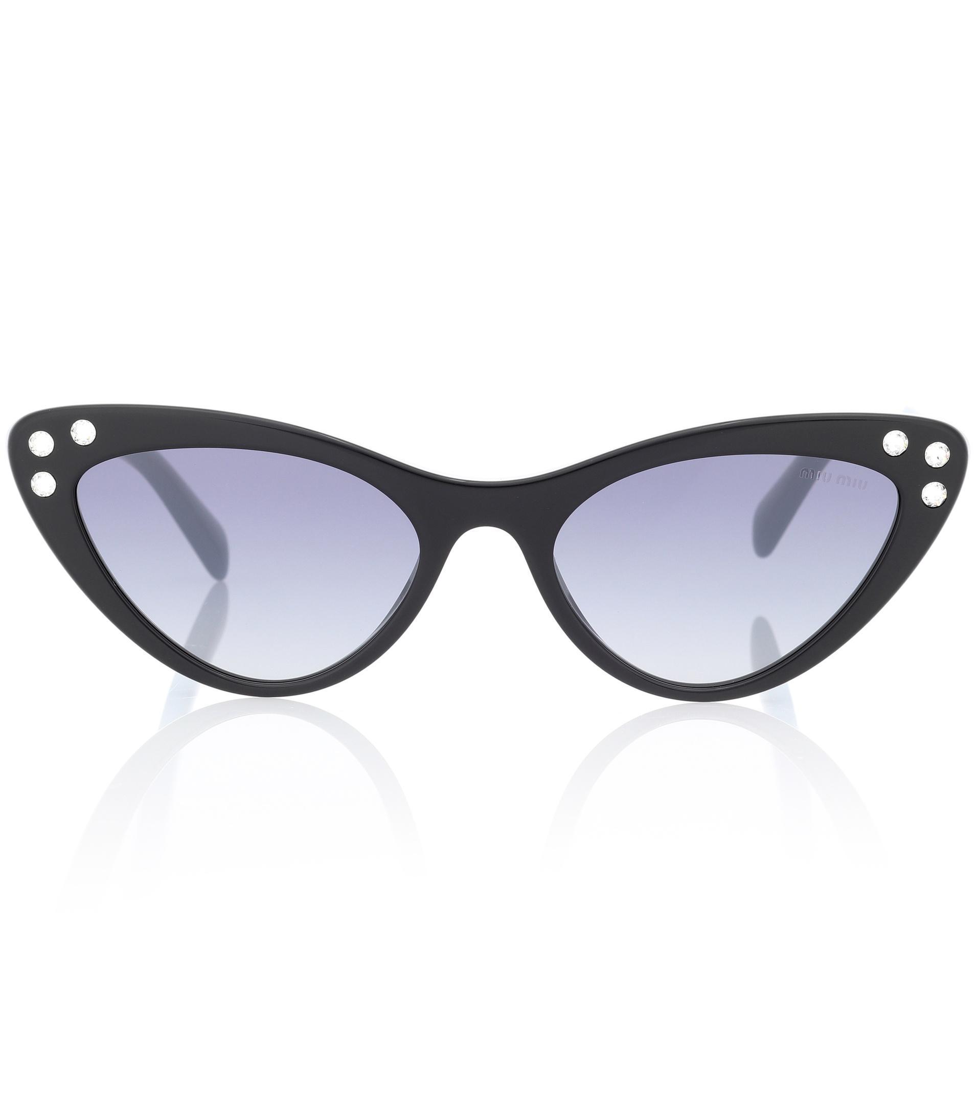 391a21d42026 Miu Miu Embellished Cat-eye Sunglasses in Black - Lyst