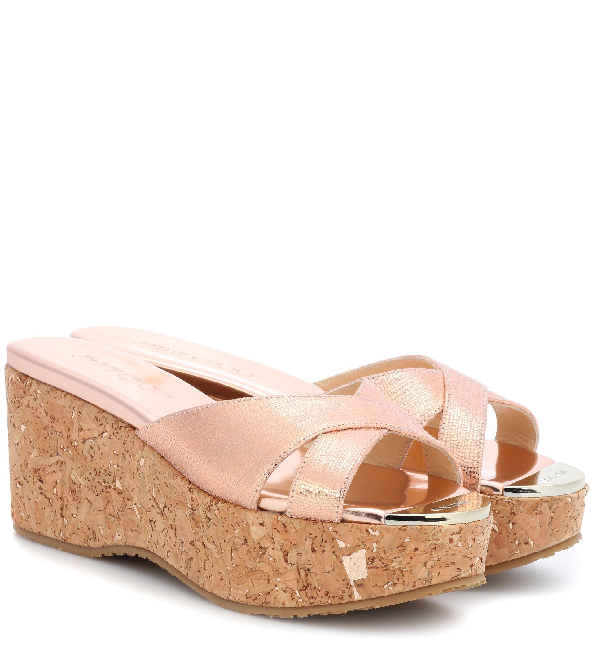 15c4475ec943 Jimmy Choo Prima Leather Wedge Sandals in Metallic - Lyst