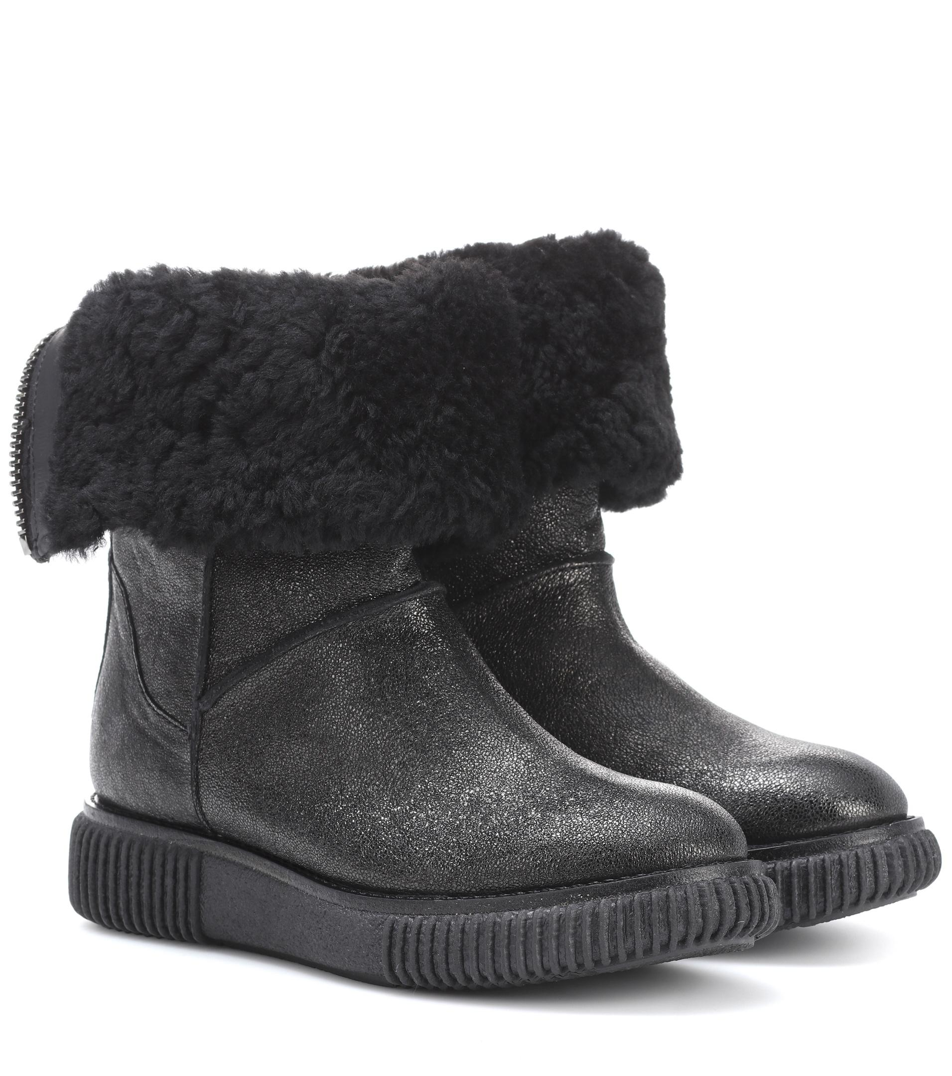 9ba79ea8bb42 Lyst - Moncler New Christine Fur-lined Leather Ankle Boots in Black