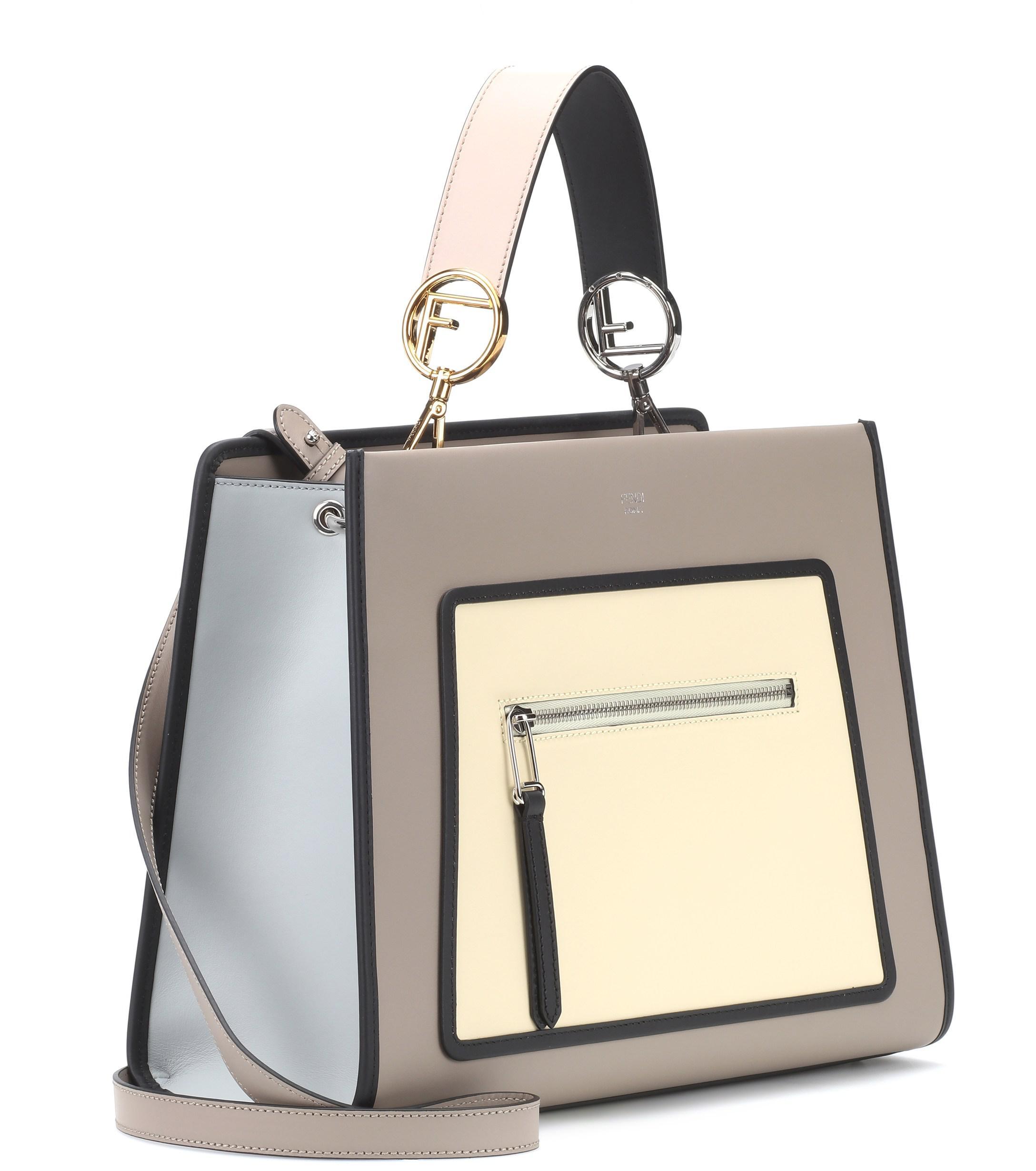 0c694b2df52d Fendi Runaway Leather Shoulder Bag in Gray - Lyst
