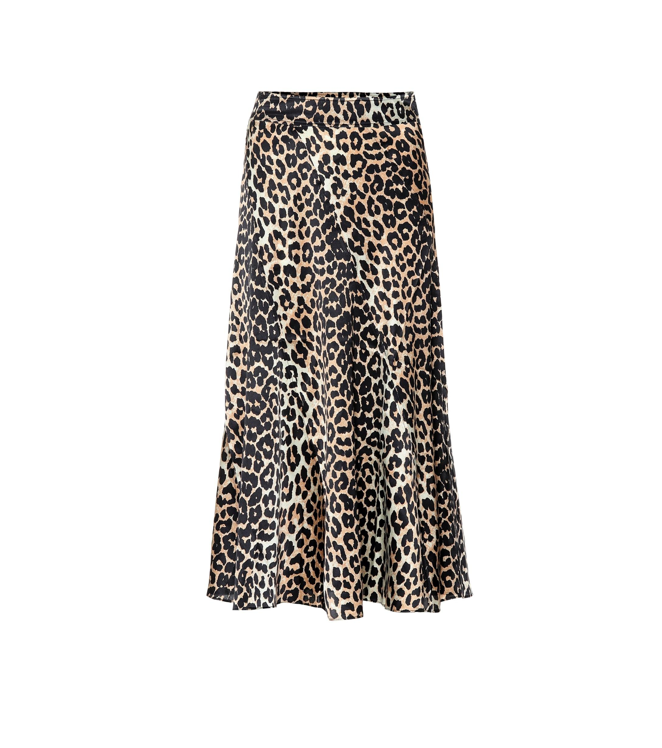 8b333861ac1e Ganni Leopard-printed Silk Midi Skirt in Black - Lyst