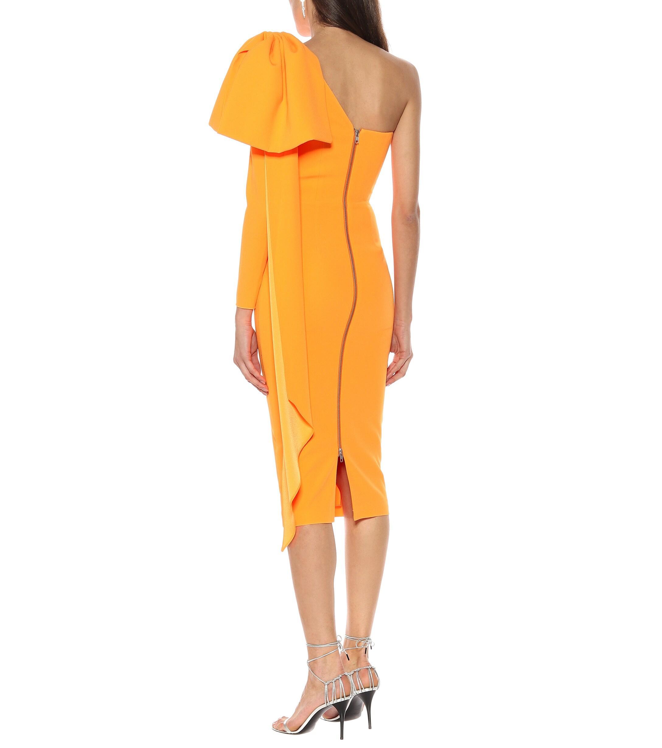 Vestido midi Wade de crepé Alex Perry de color Naranja