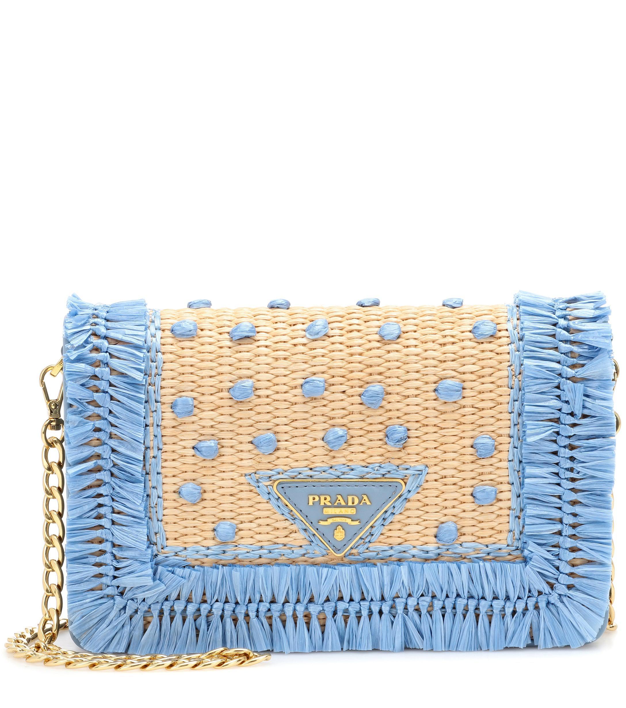 Prada - Blue Leather And Raffia Shoulder Bag - Lyst. View fullscreen 2cf5f96326