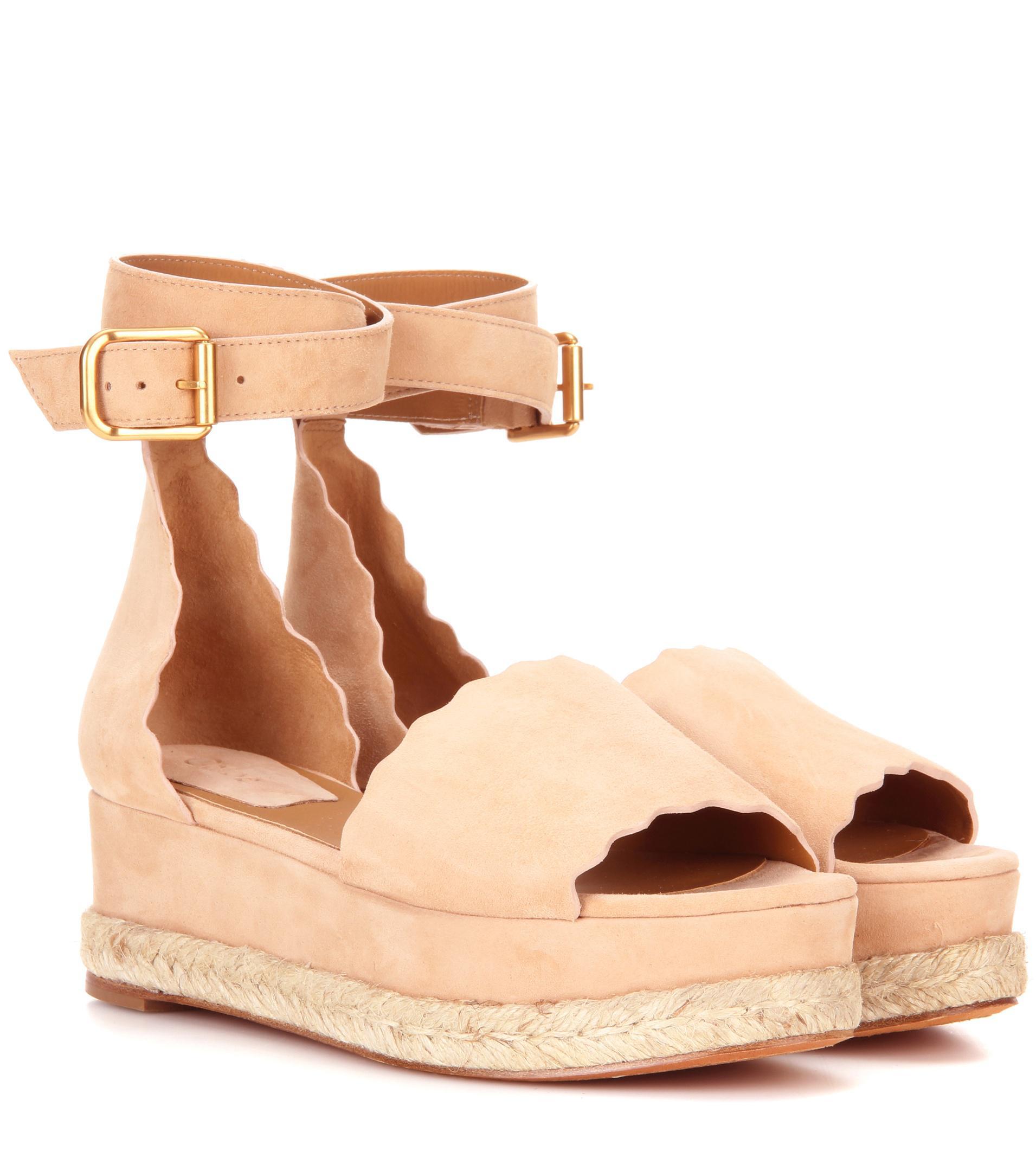 3c601197ea46 Lyst - Chloé Lauren Platform Suede Sandals