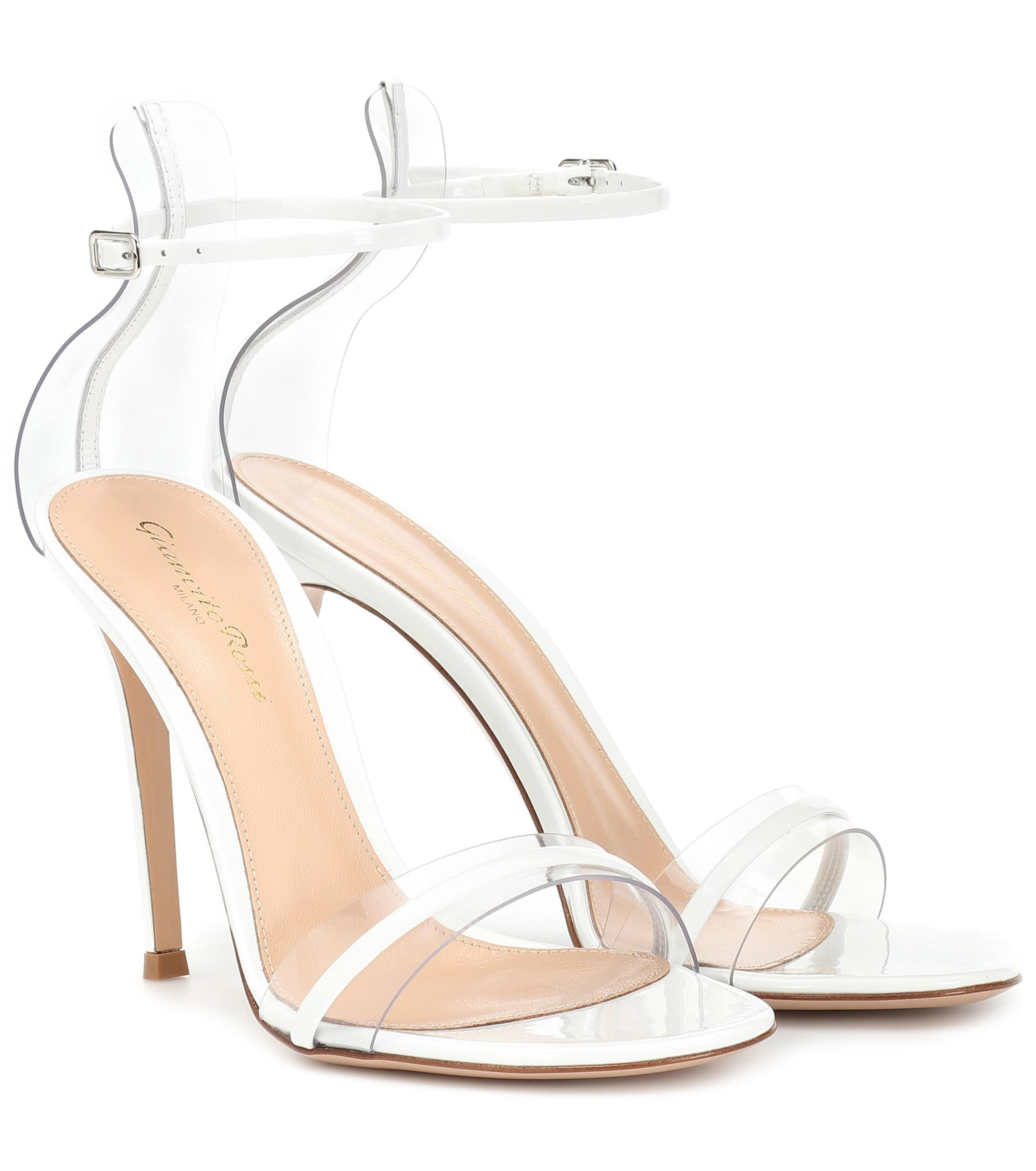 b85a66a113aa7 Lyst - Gianvito Rossi G-string Leather Sandals in White