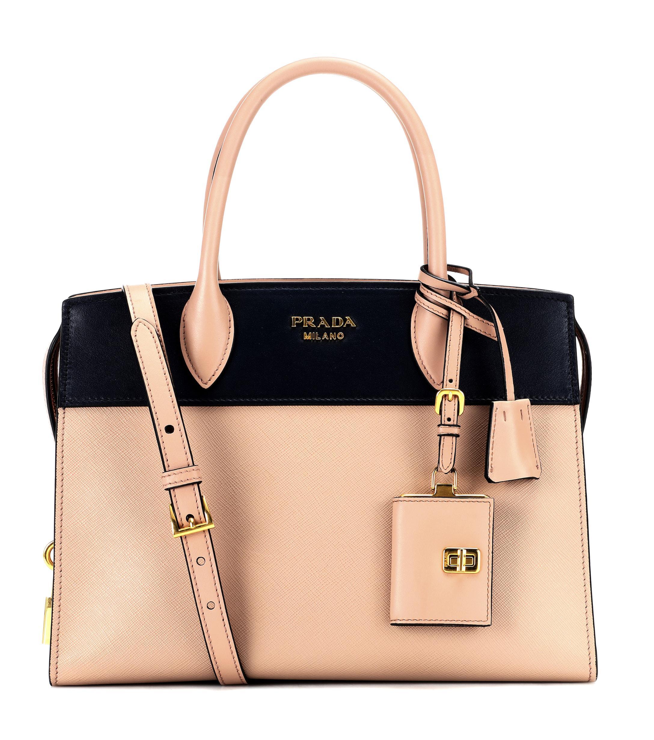 41cfe6744e1b Prada Paradigme Saffiano Leather Tote in Natural - Lyst