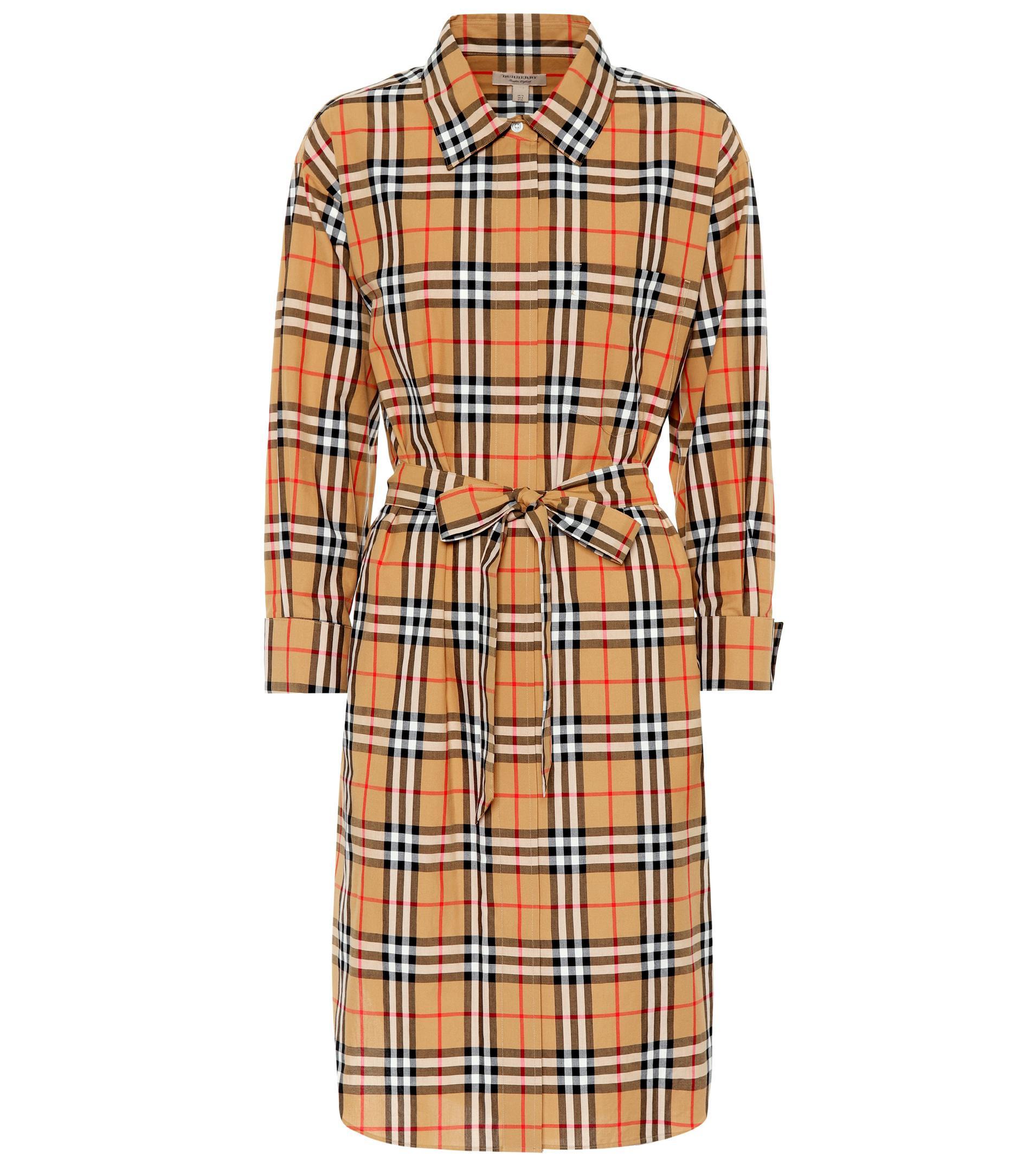 acf316572e6 Lyst - Robe chemise en coton à carreaux Burberry en coloris Marron
