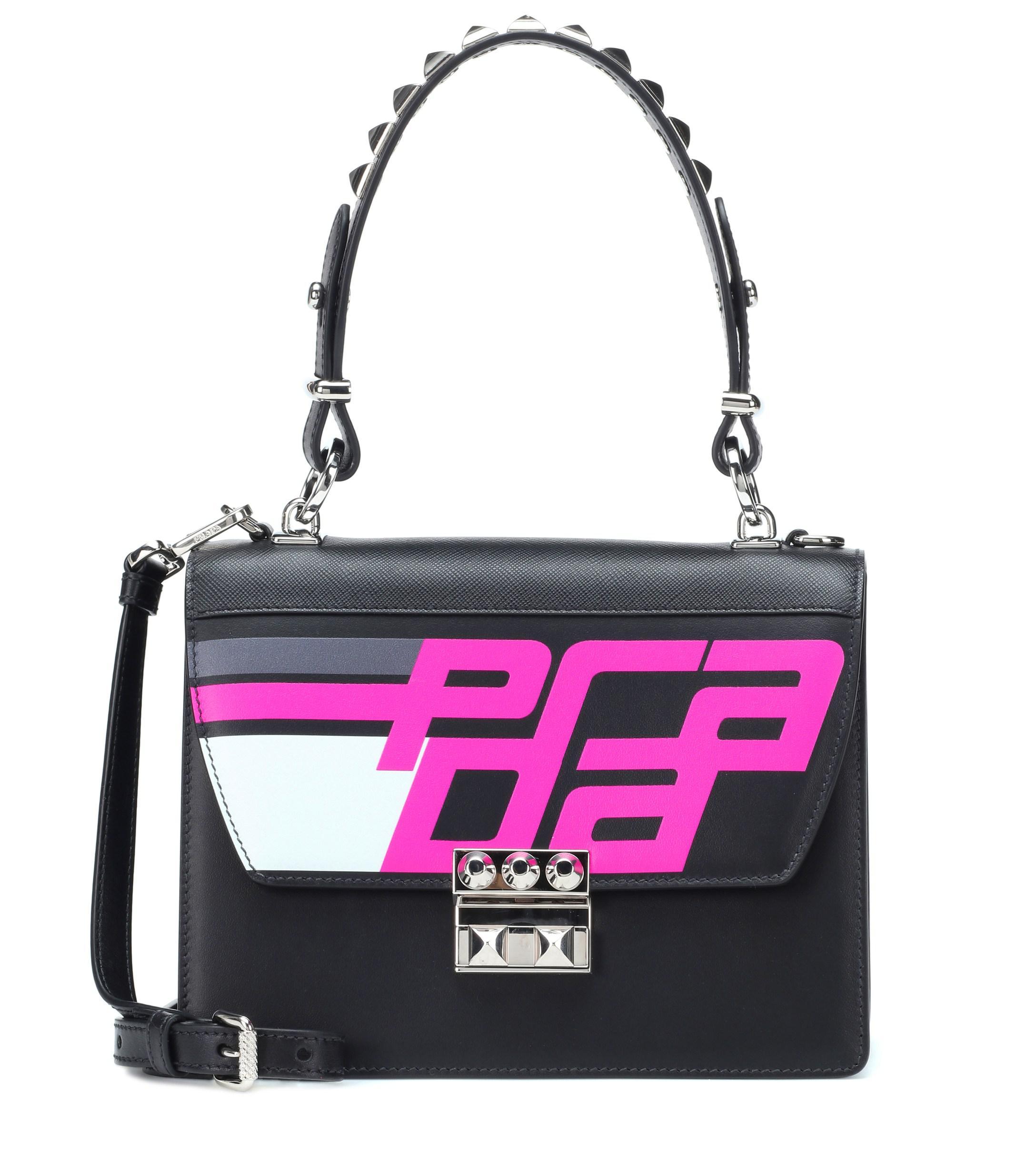 e11c236e518 Lyst - Prada Elektra Leather Shoulder Bag in Black