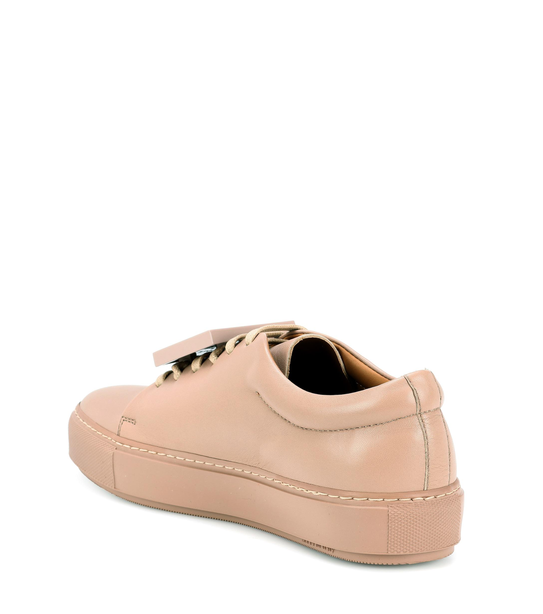 Acne Studios Adriana Turnup Leather Sneakers in Beige (Natural)