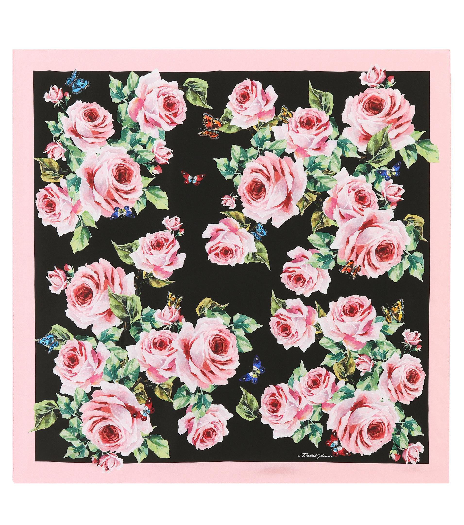 f8432fa1 Dolce & Gabbana Floral-printed Silk Scarf - Lyst