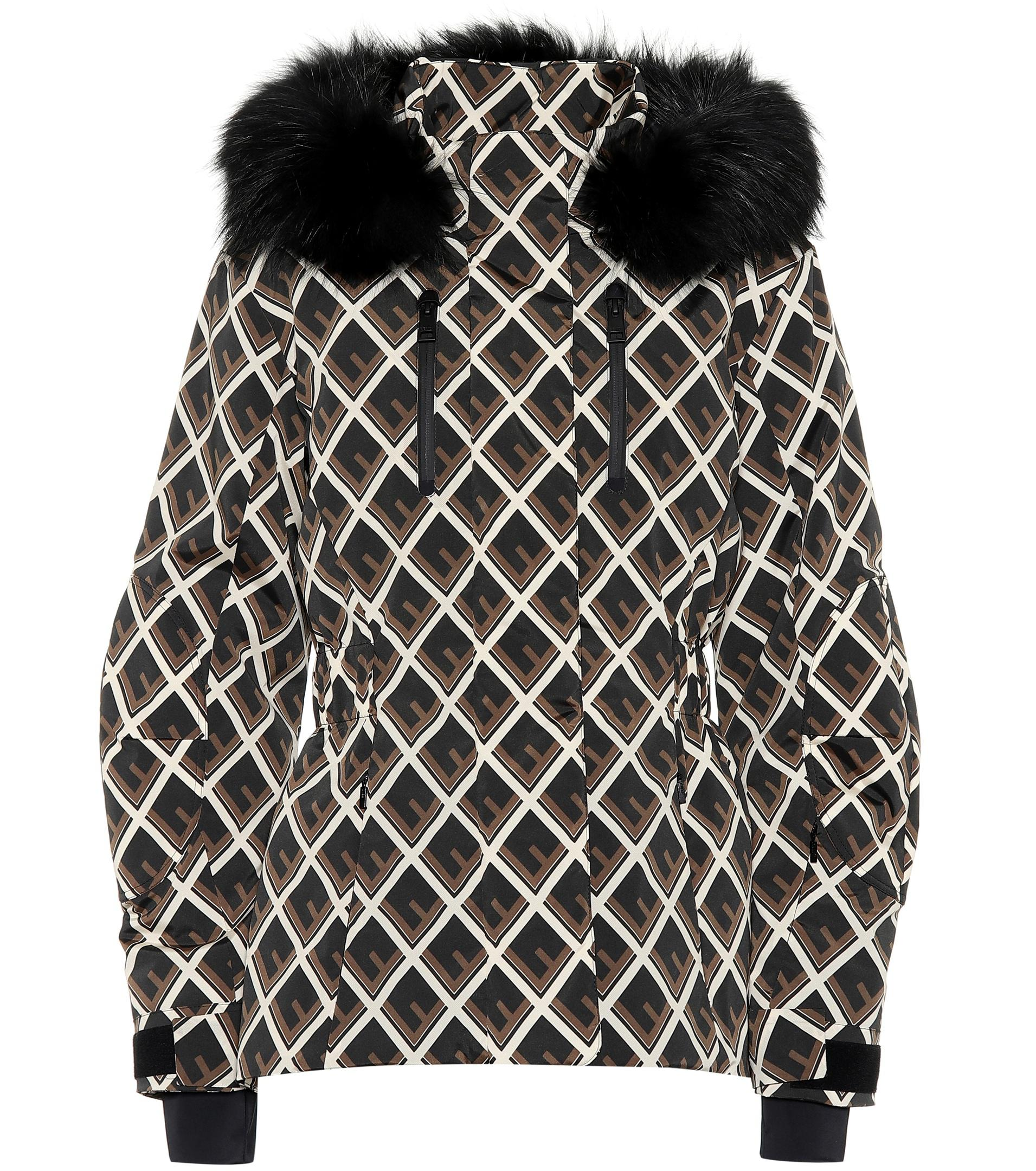 d5d00386 Fendi Printed Fur-trimmed Ski Jacket in Black - Lyst
