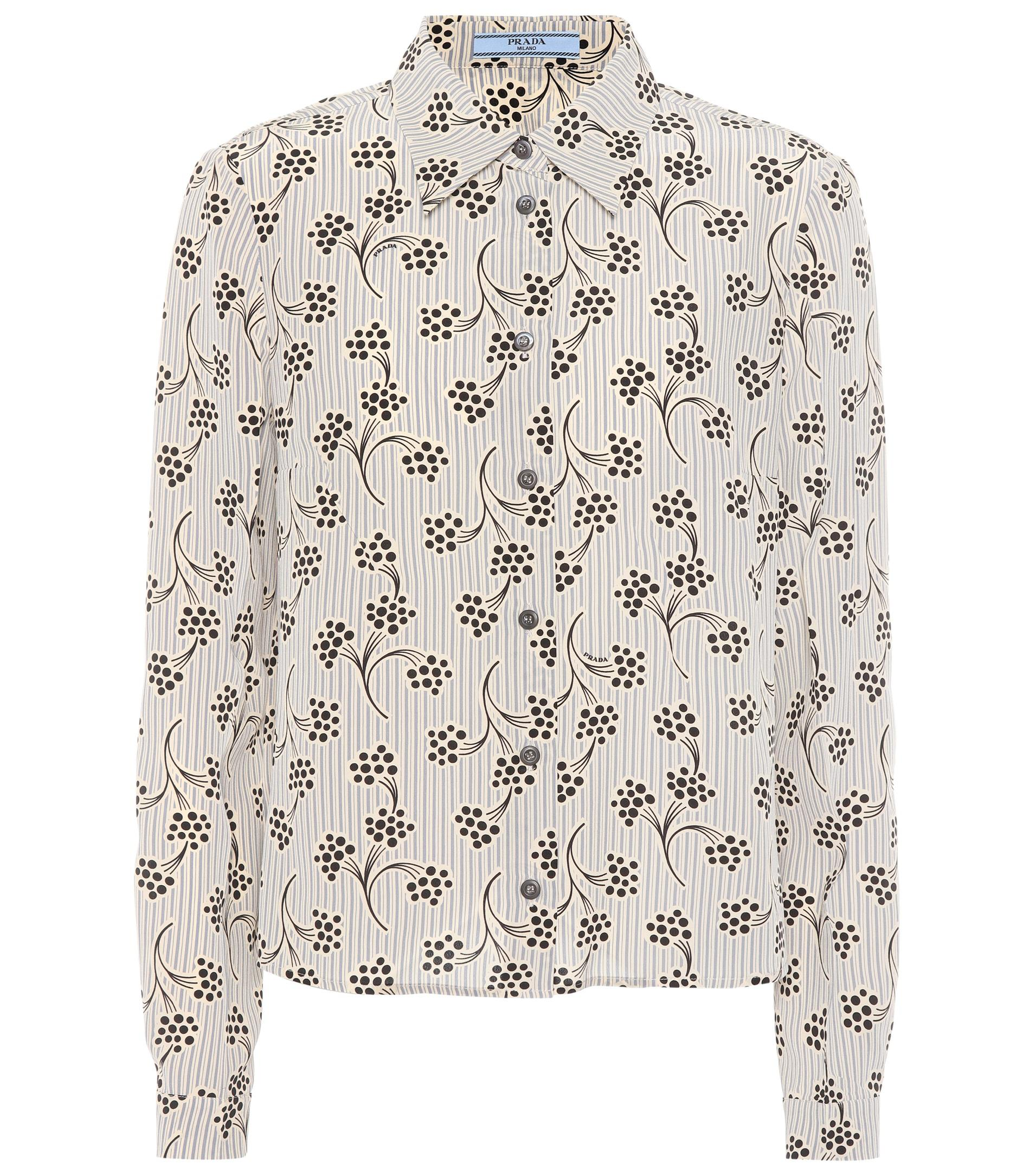 202c7fe5df97c5 Prada Printed Silk Shirt - Lyst