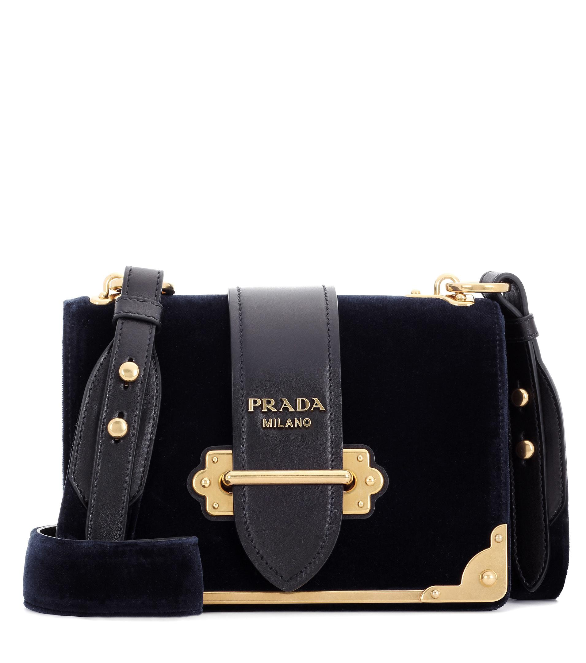 69b7898dd066 Lyst - Prada Cahier Leather Velvet Bag in Blue