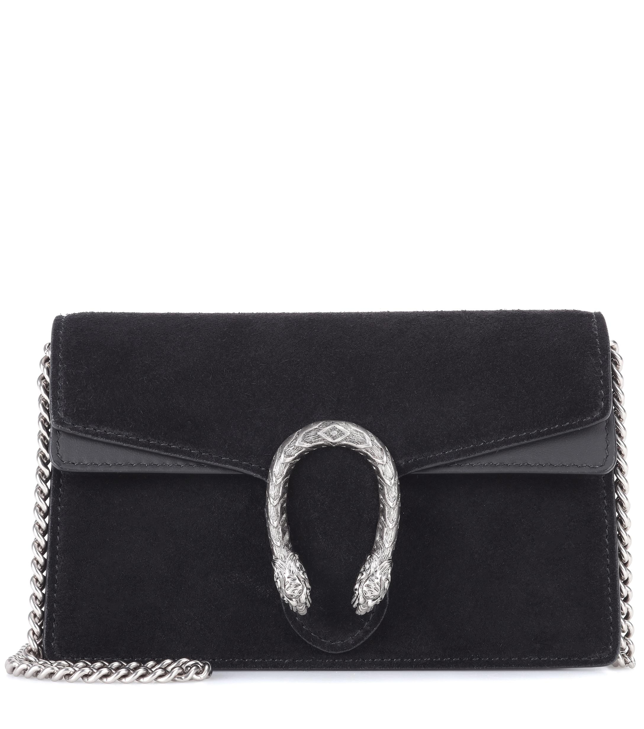 424d3d07aaf Lyst - Gucci Dionysus Suede Super Mini Bag in Black - Save 1%