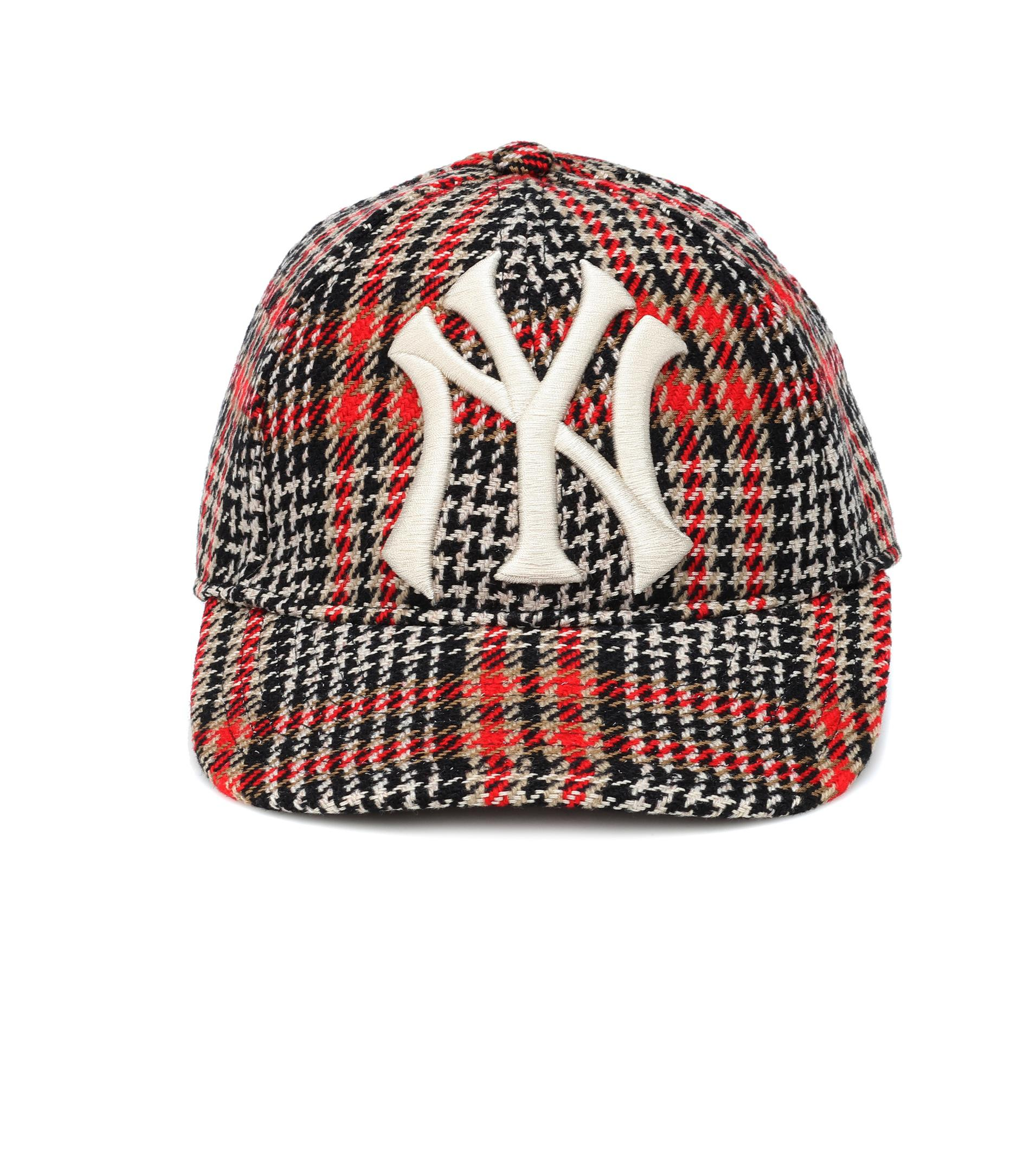 14cd6c7fadd Lyst - Gucci Ny Yankees Houndstooth Baseball Cap in Red