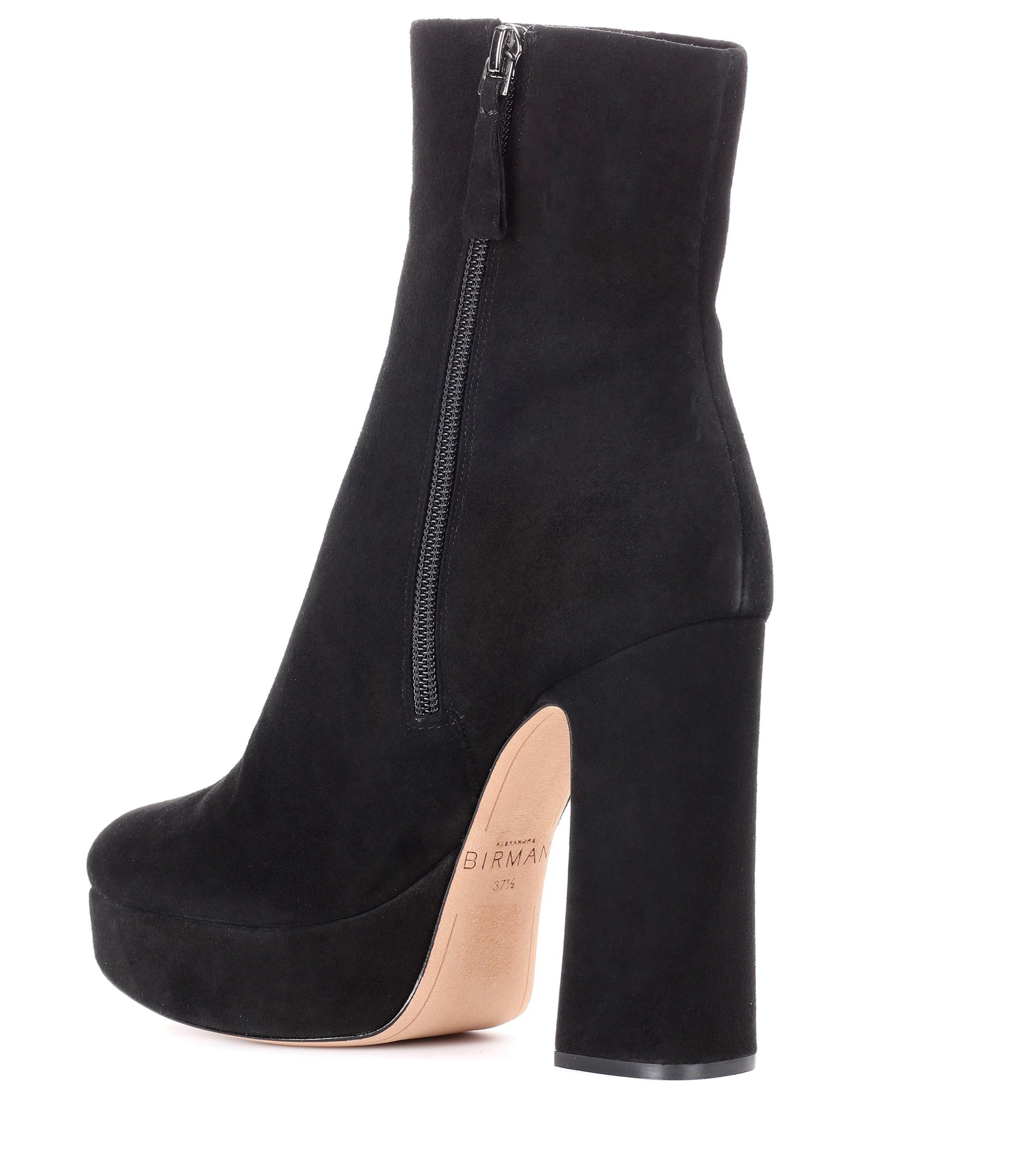 Alexandre Birman Suede Plateau Ankle Boots in Black