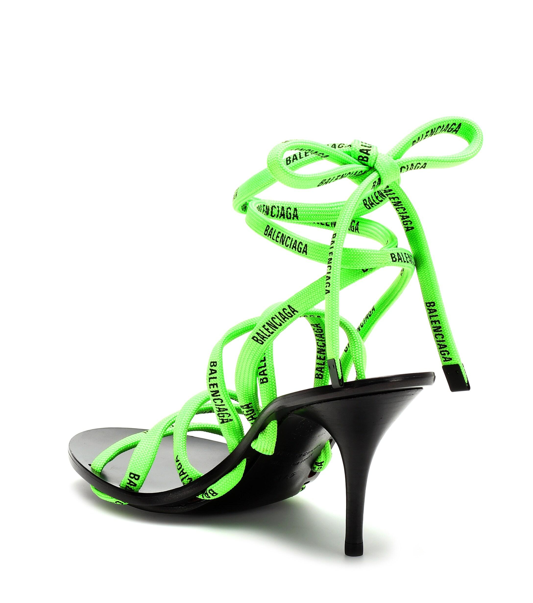 Balenciaga Lace-up Sandals in Black