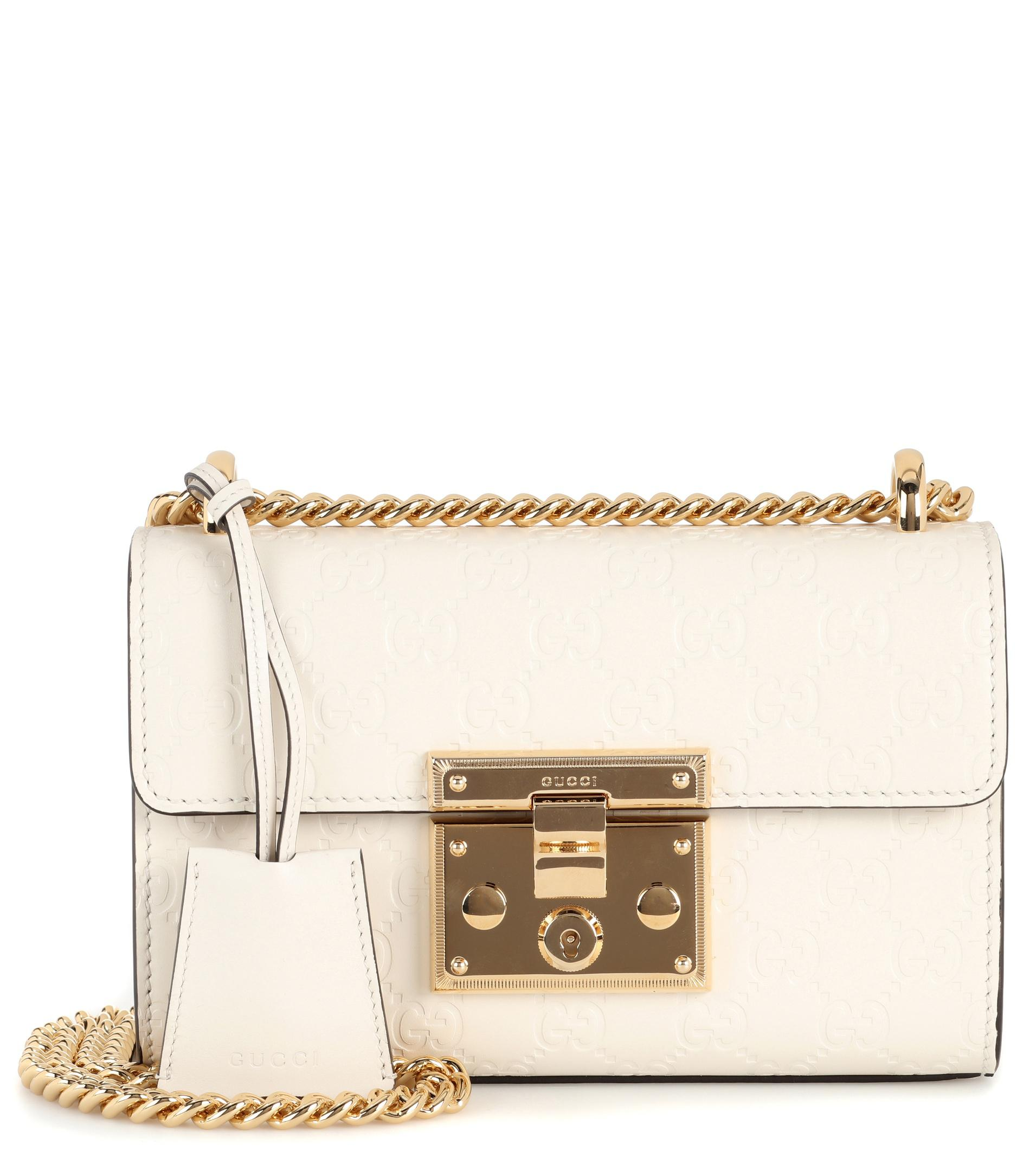 6896e800d1b9 Gucci Padlock Small Leather Shoulder Bag in White - Lyst