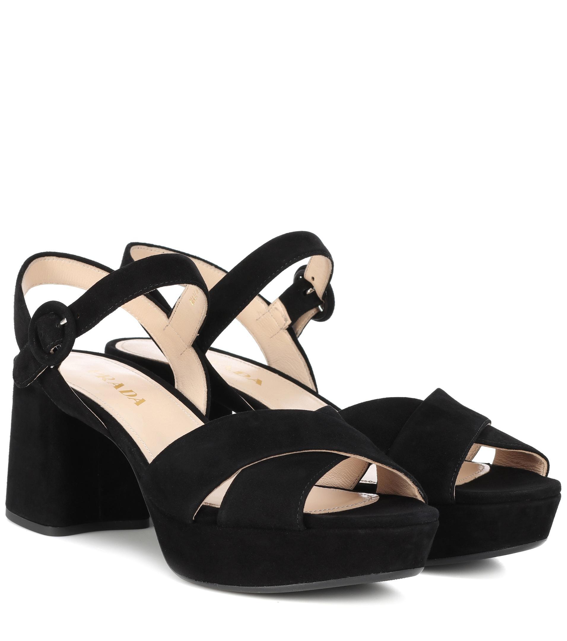 Prada Suede plateau sandals really cheap price z4zziT