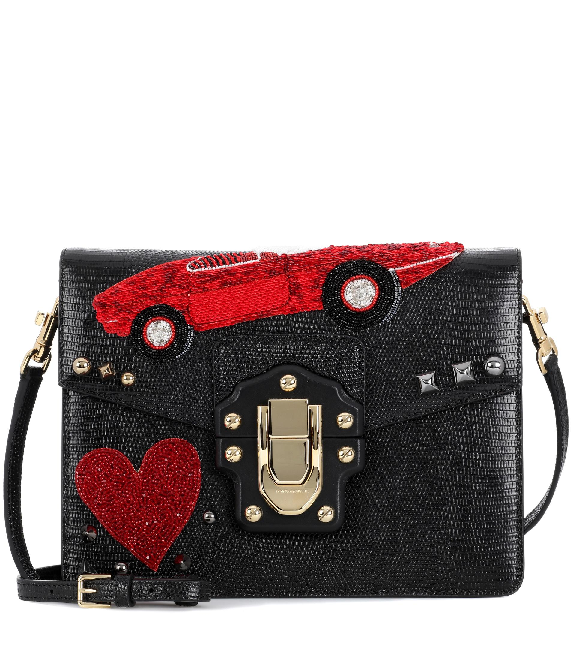 9a032cf90cb7 Lyst - Dolce   Gabbana Lucia Leather Shoulder Bag in Black