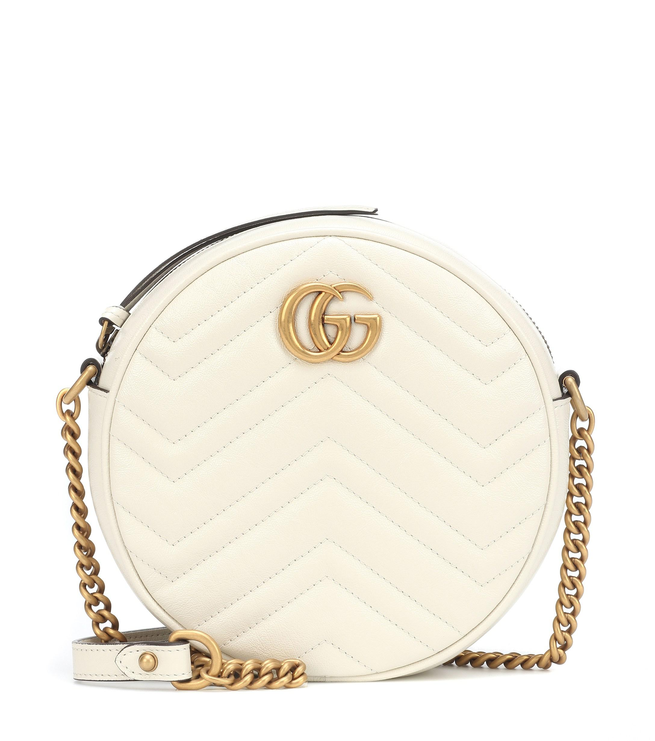 9878c841b24 Lyst - Gucci GG Marmont Mini Leather Shoulder Bag in White