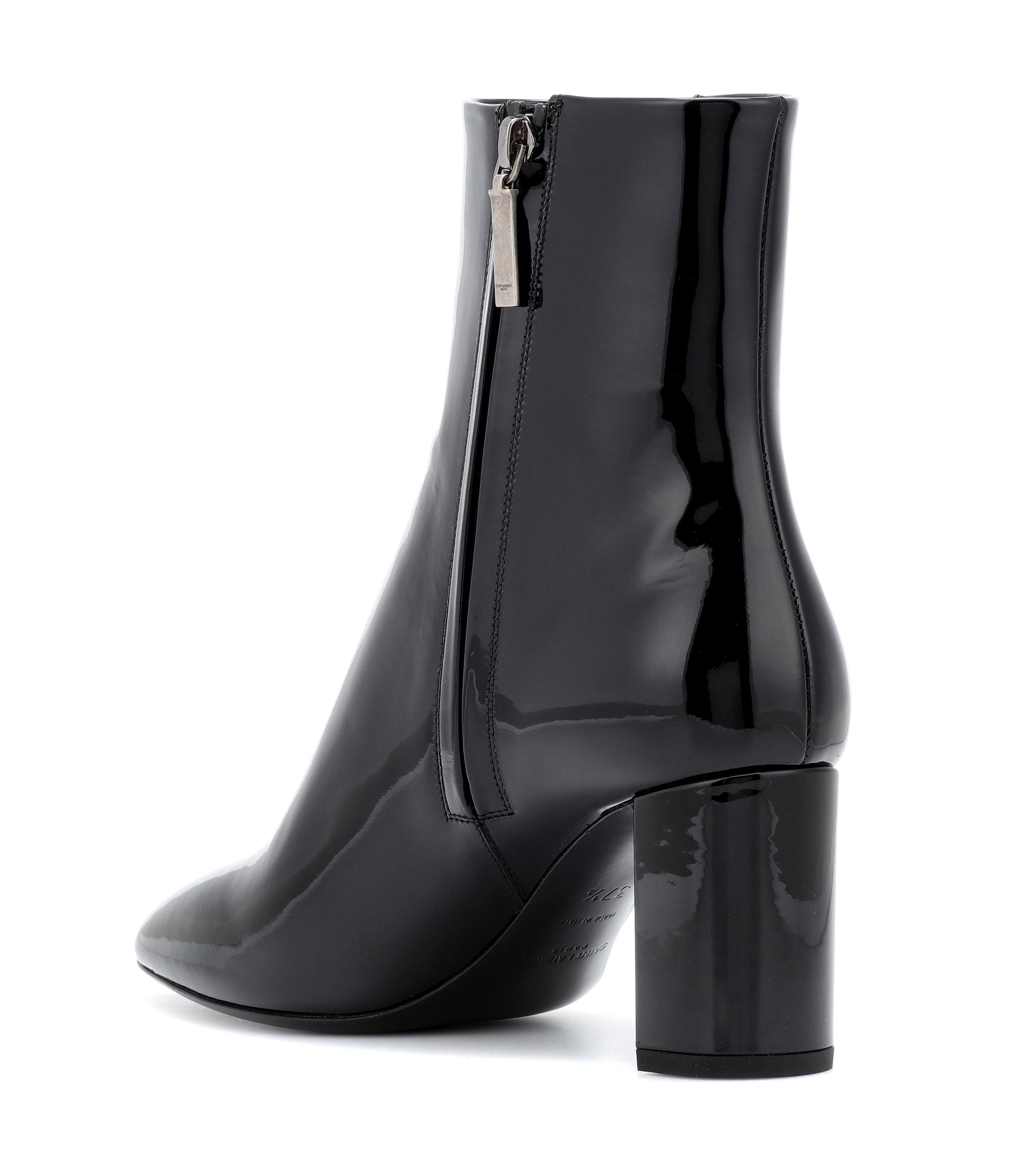 22388c5ce4d Saint Laurent Lou 70 Patent Leather Ankle Boots in Black - Lyst