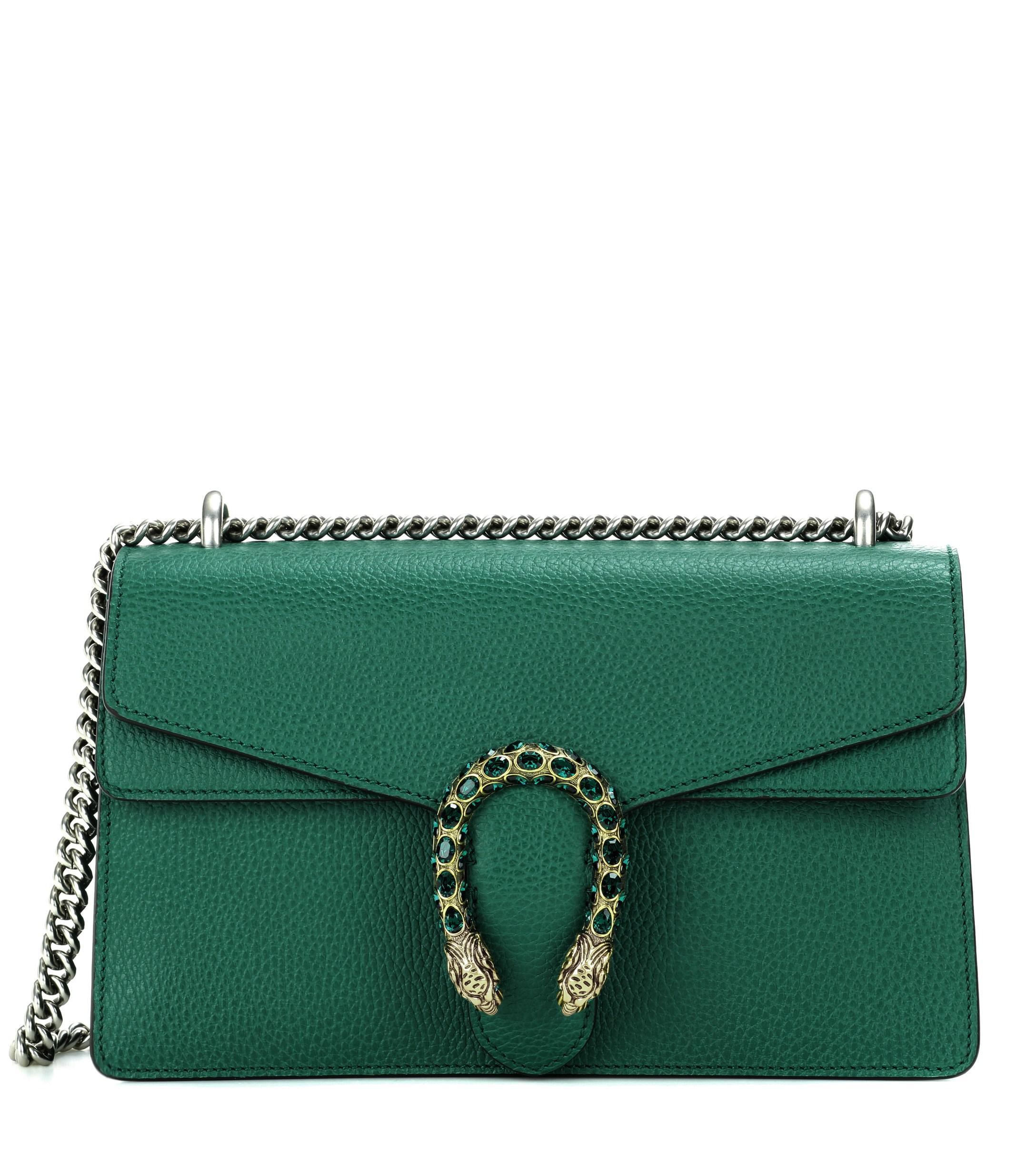 73c095af71d0 Gucci Dionysus Small Leather Shoulder Bag in Green - Save 10% - Lyst