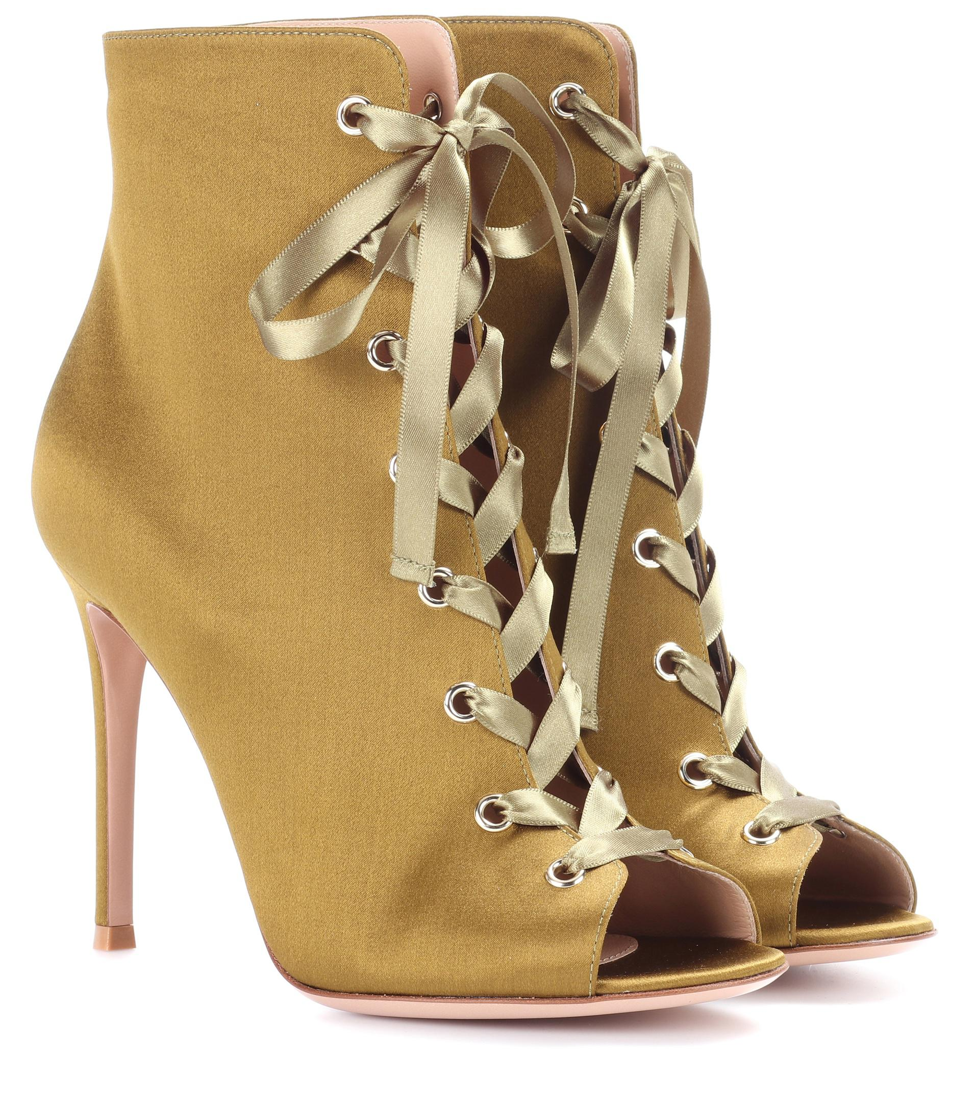 Gianvito Rossi Marie satin peep-toe ankle boots zlDQHcHZs
