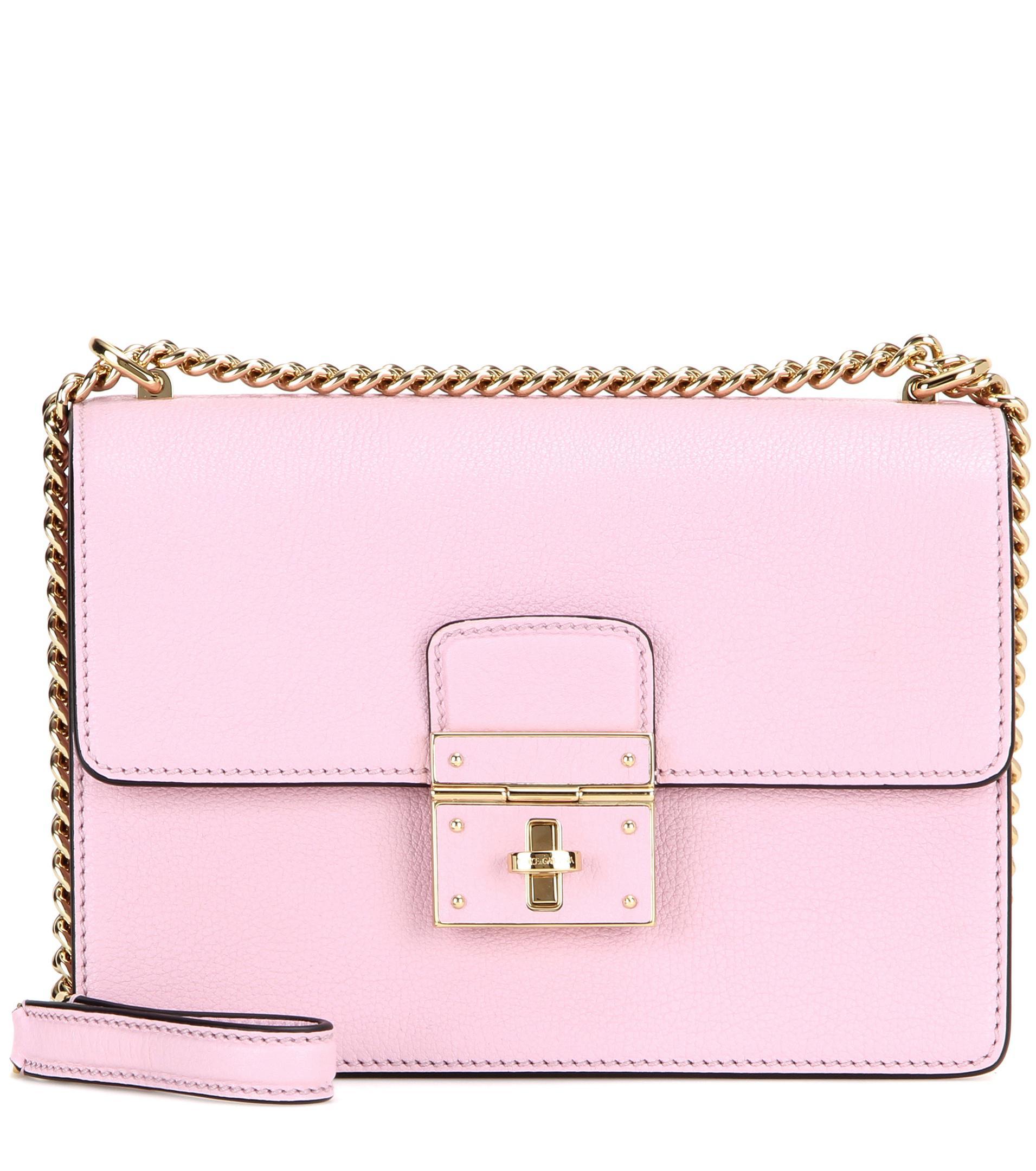 71af1a1e78 Lyst - Dolce   Gabbana Rosalia Leather Shoulder Bag in Pink