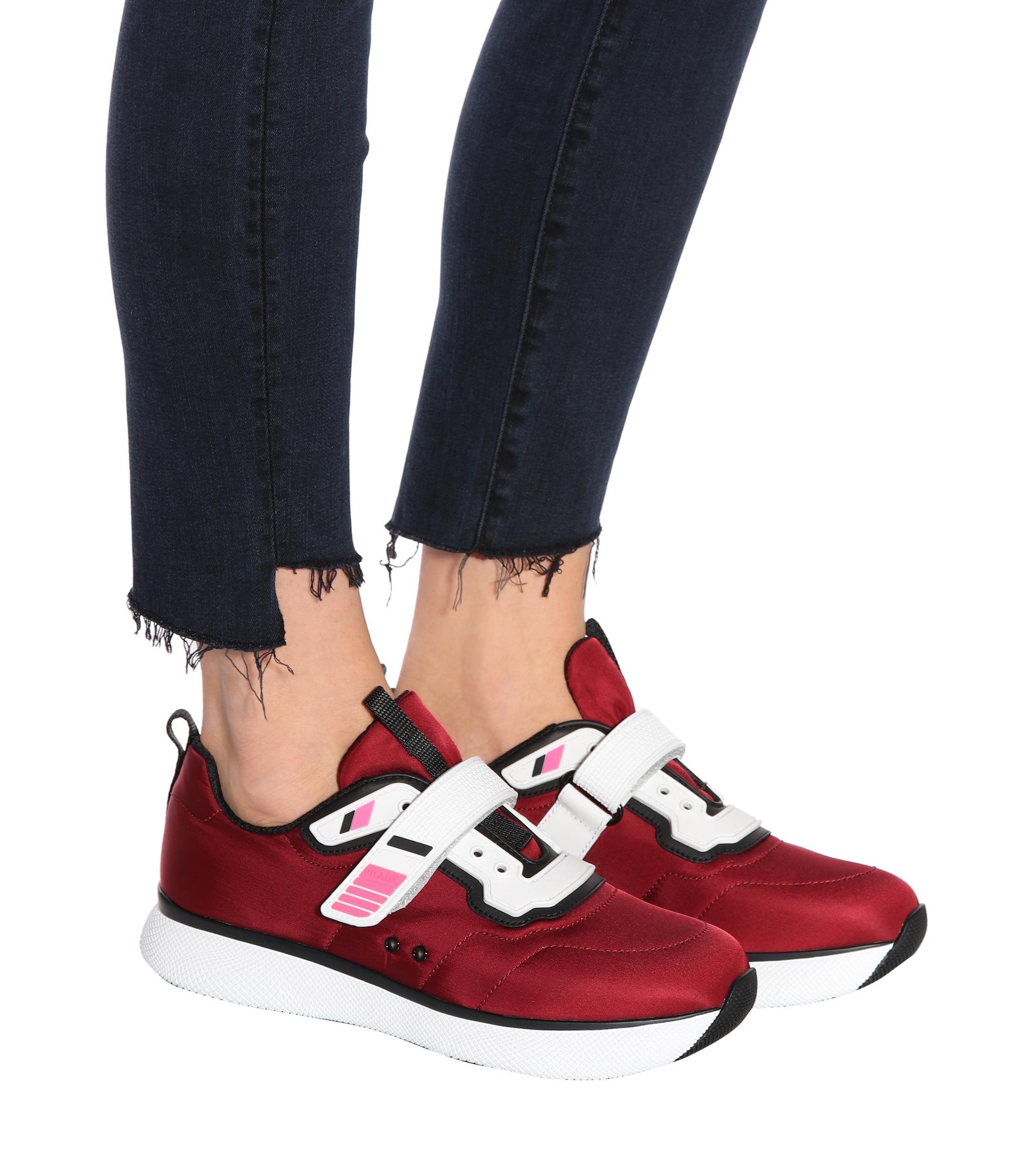 Prada Embellished Sneakers in Red