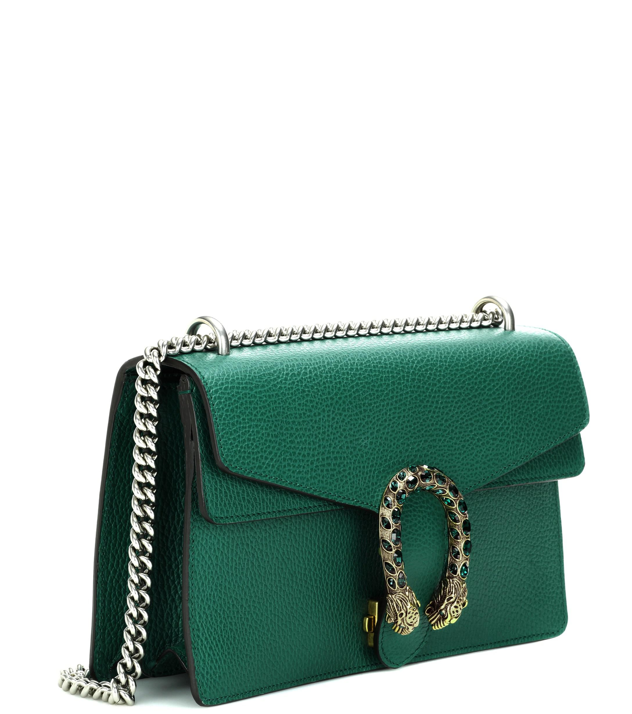 gucci dionysus small leather shoulder bag in emerald
