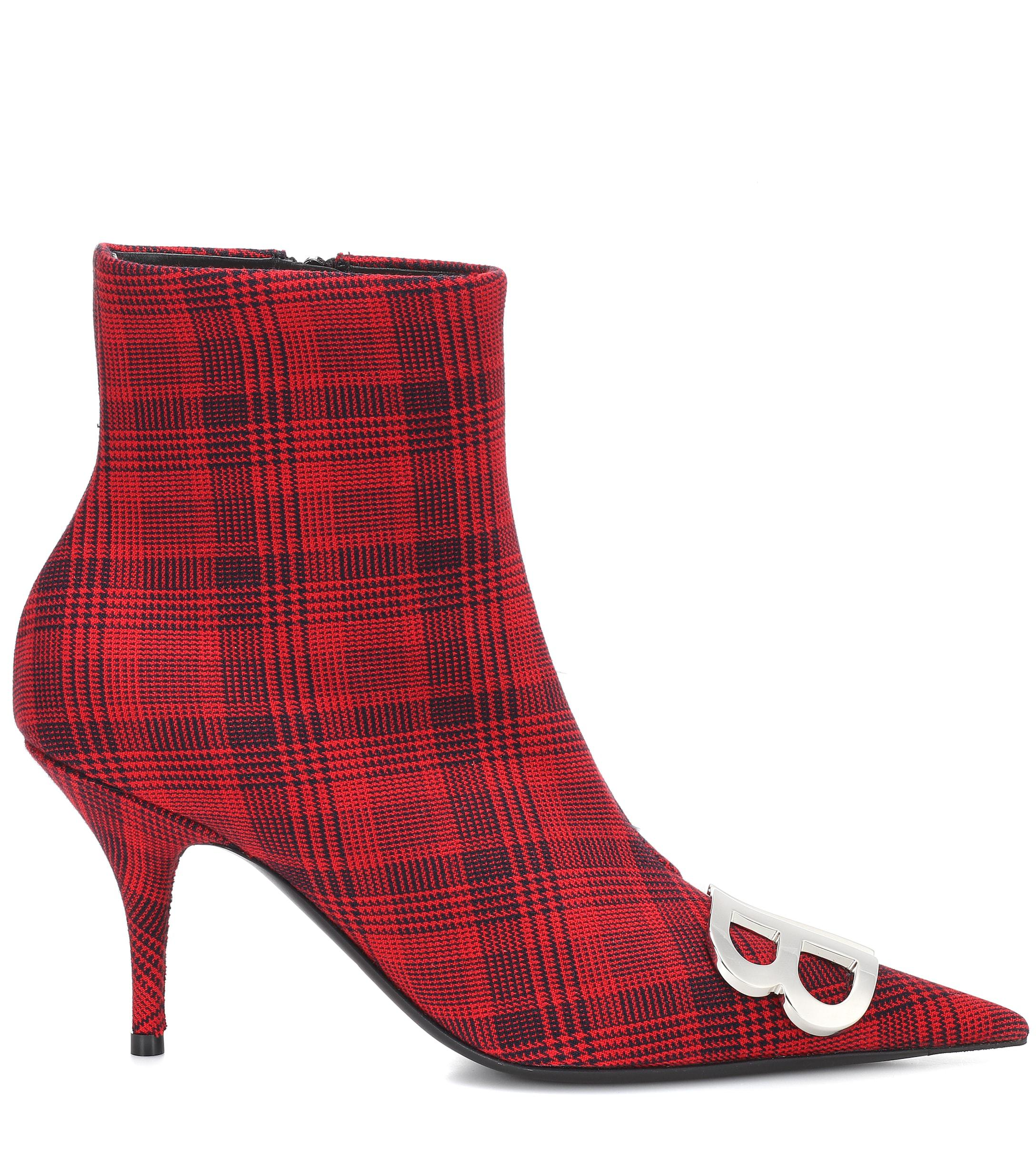 Balenciaga Bb Tartan Boot 80mm Red