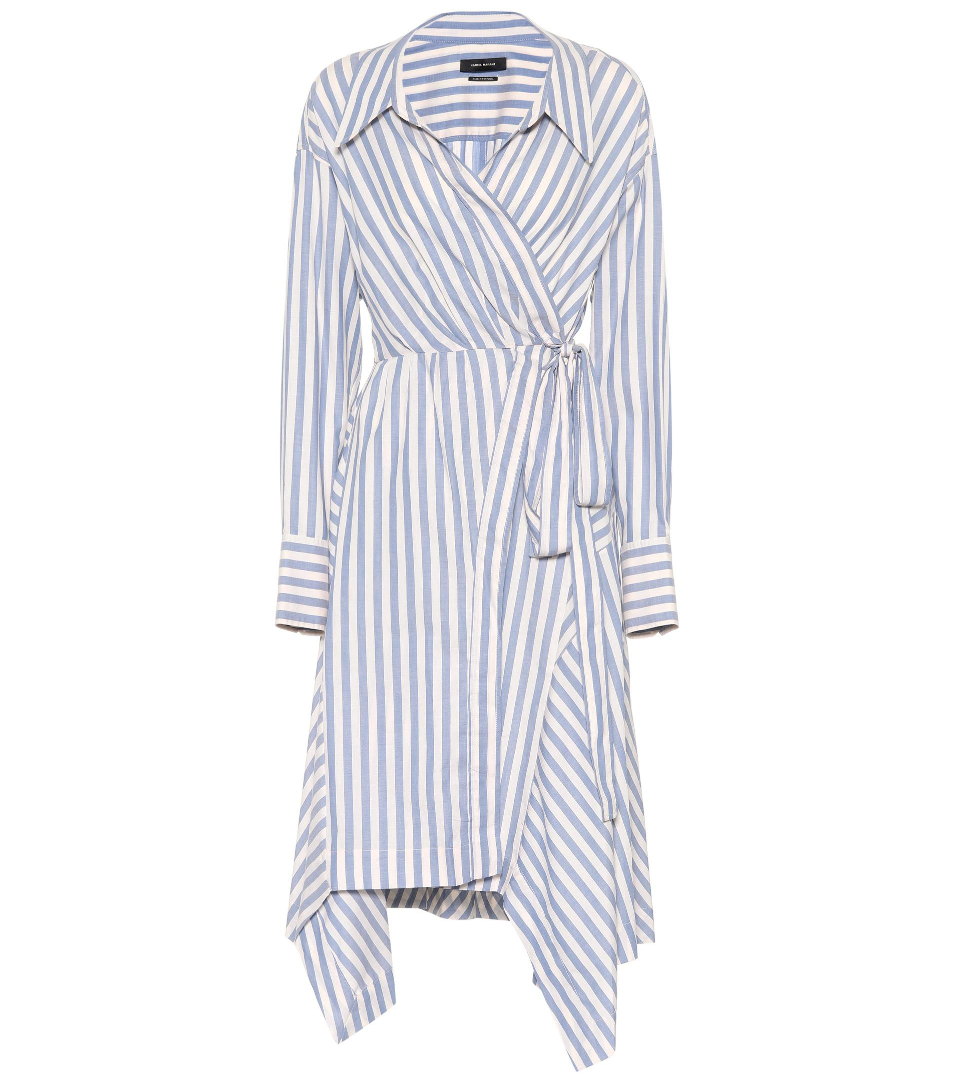 Mila striped cotton wrap dress Isabel Marant Q0mVbAaA