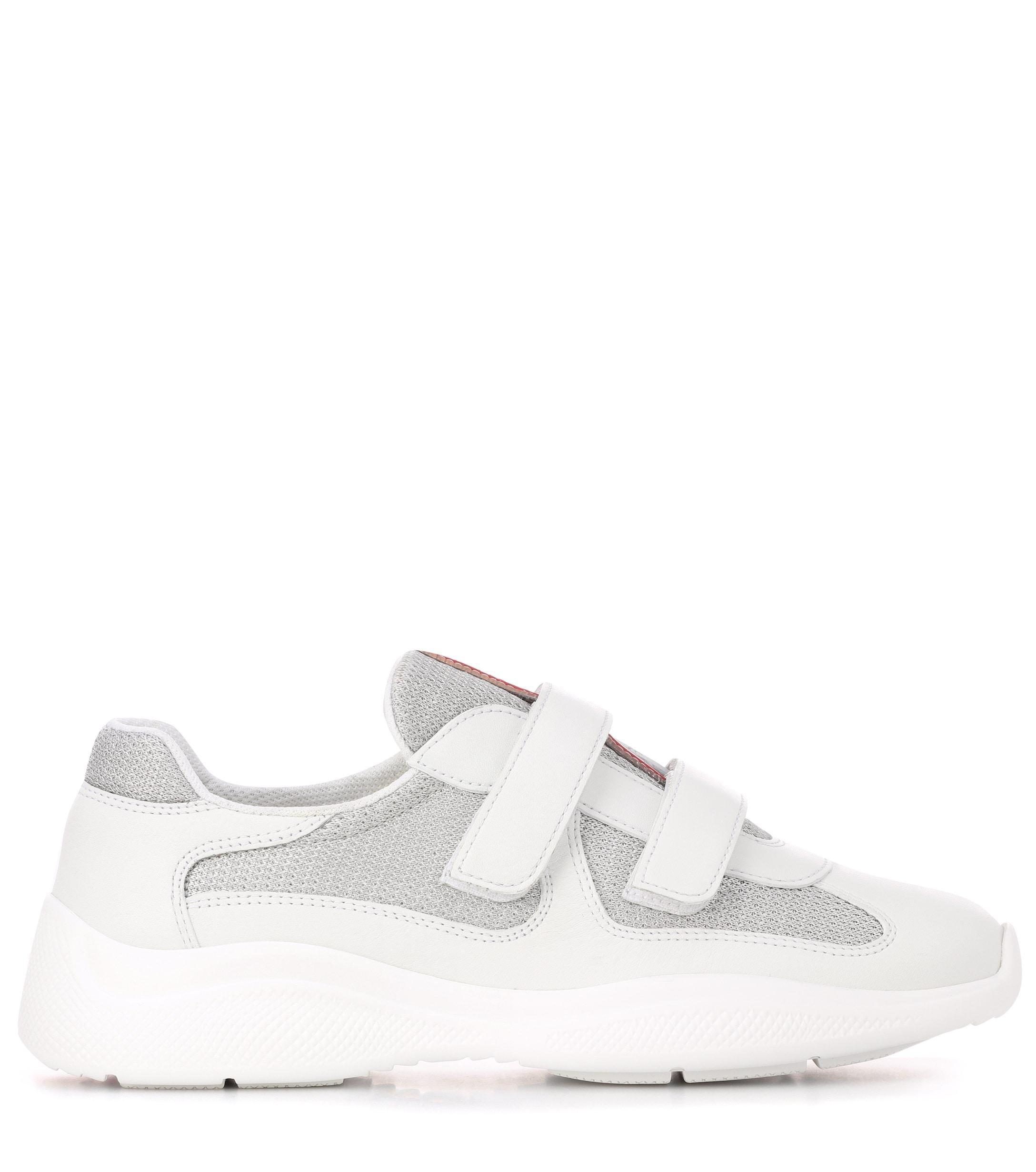 Zapatillas con detalles de piel Prada de Cuero de color Blanco