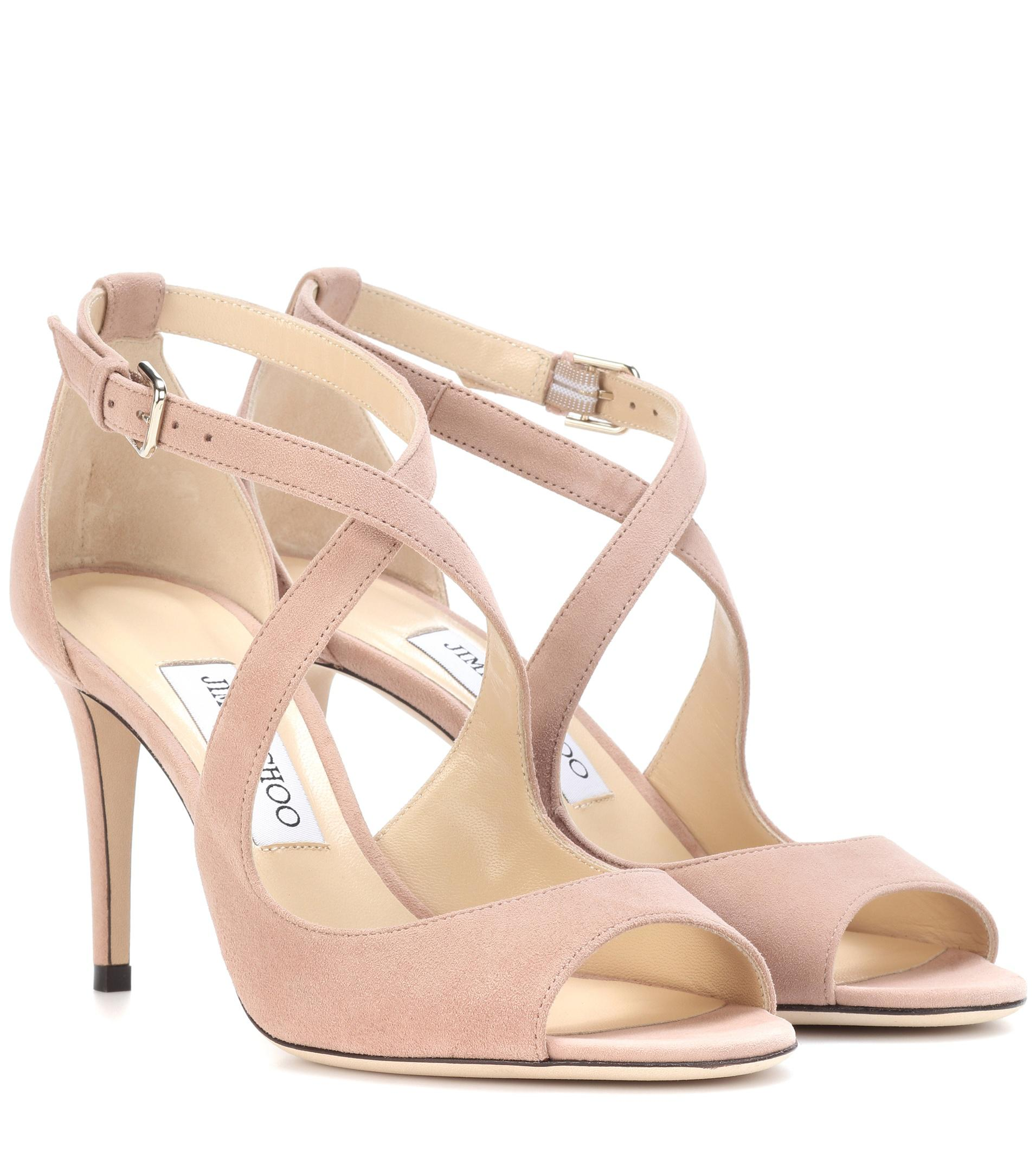 e990b6d5150f ... new zealand jimmy choo. womens pink emily 85 suede sandals ee4b6 e4f20