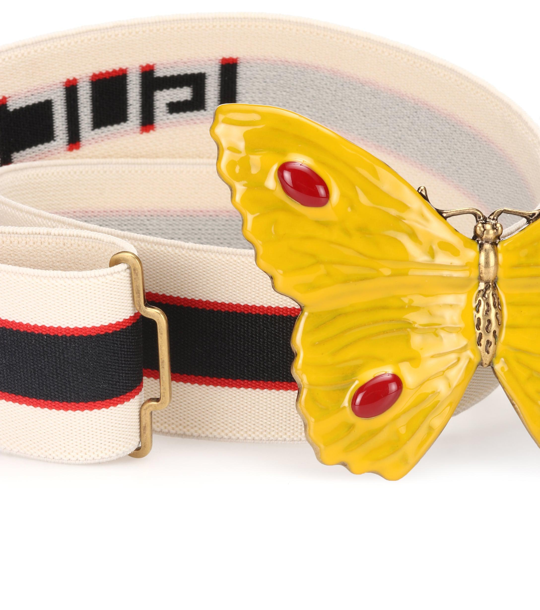 8f10276566a8 Gucci Butterfly Striped Belt in Yellow - Lyst