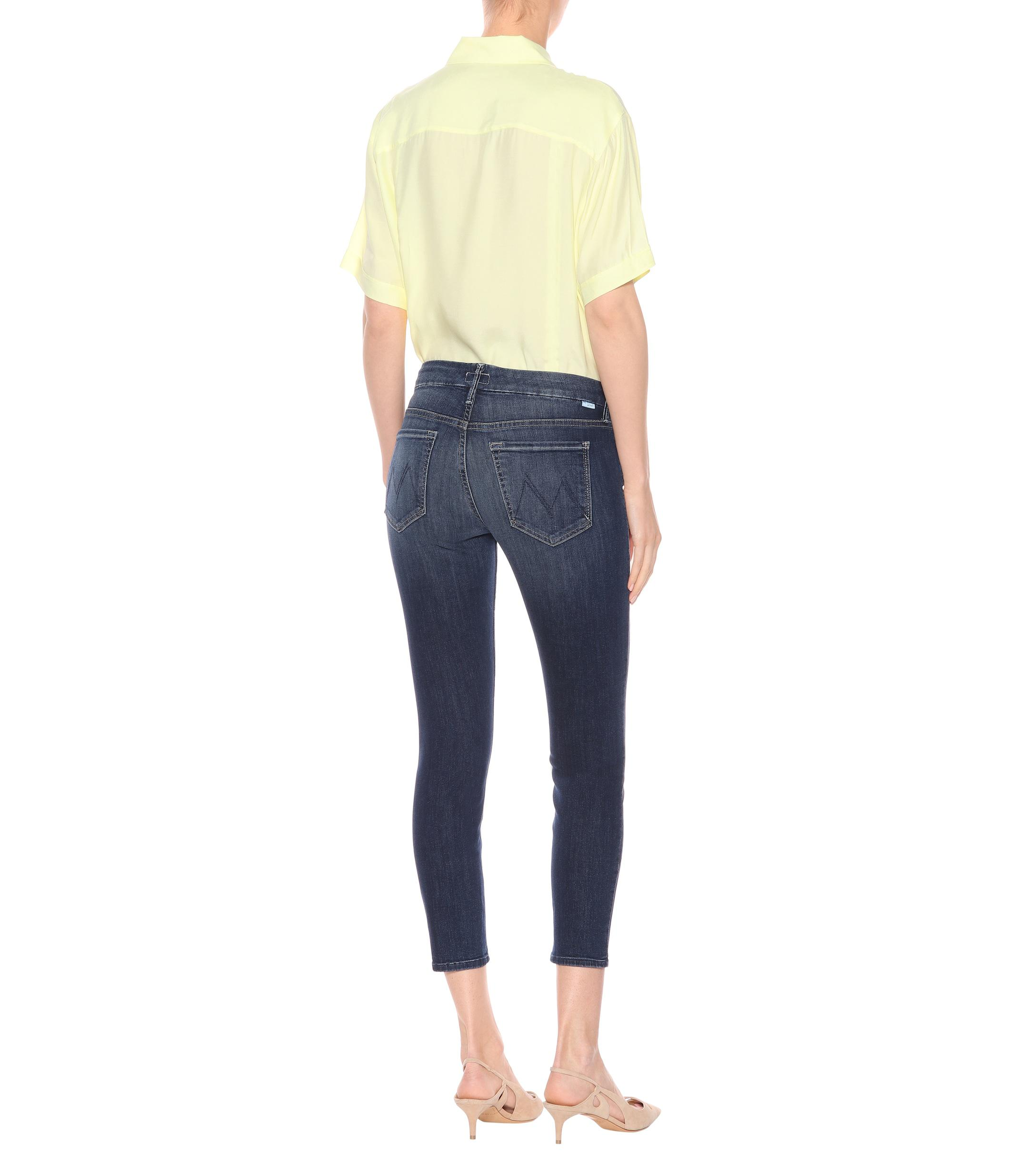 Mother Denim The Looker Cropped Skinny Jeans in Blue