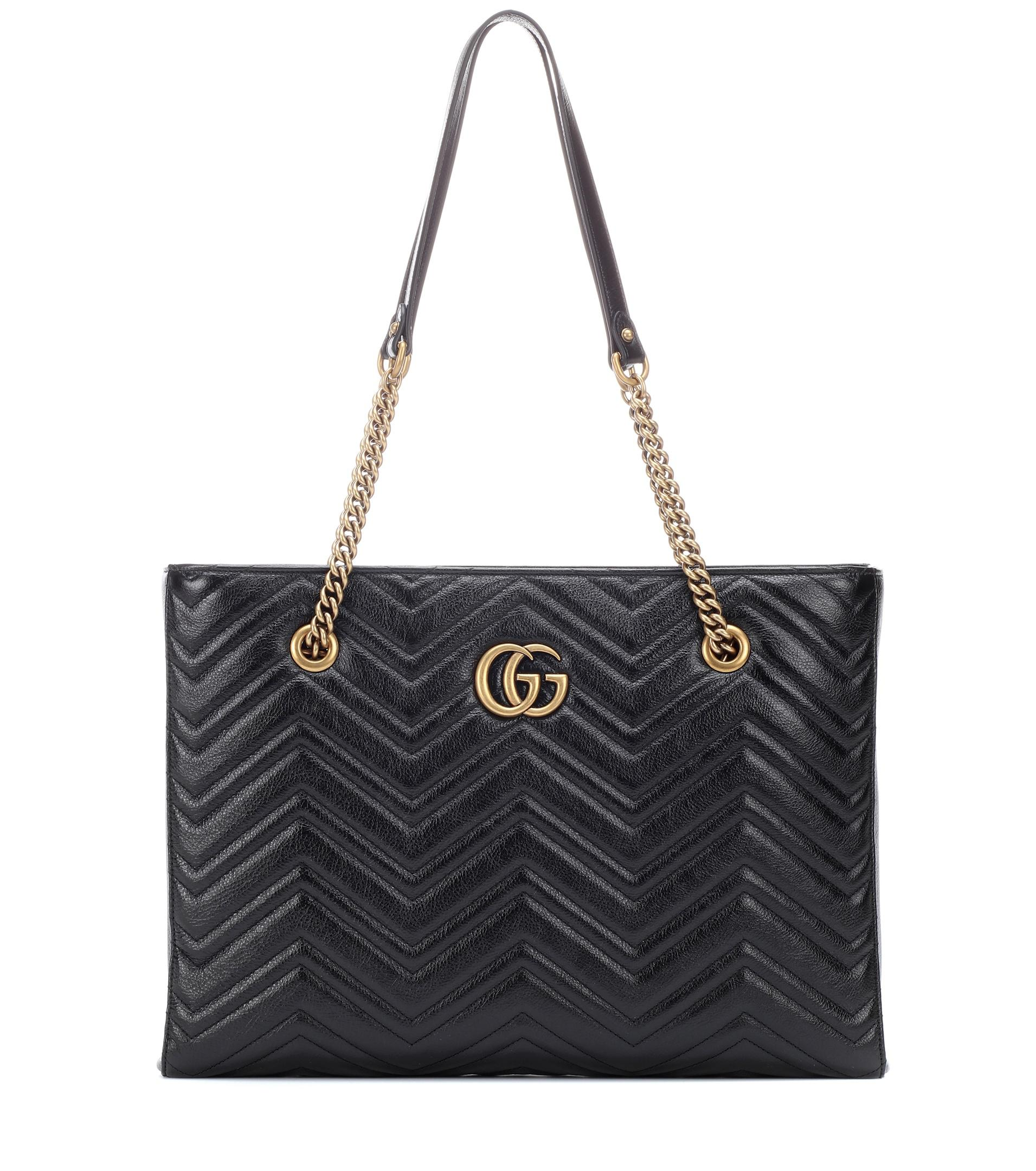 5296b092639 Gucci Gg Marmont Medium Leather Tote in Black - Lyst
