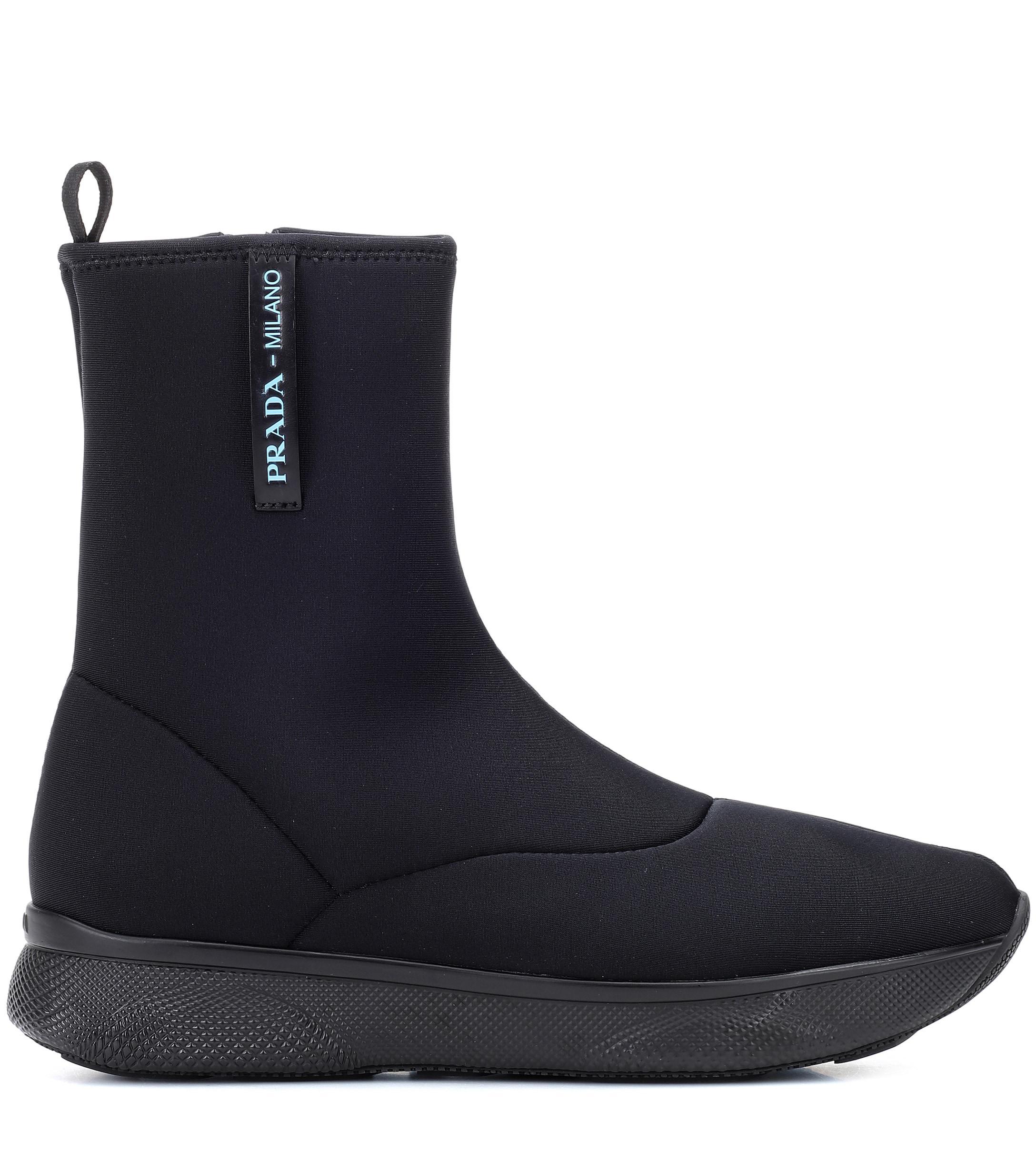 Prada Neoprene Ankle Boots Women in Black