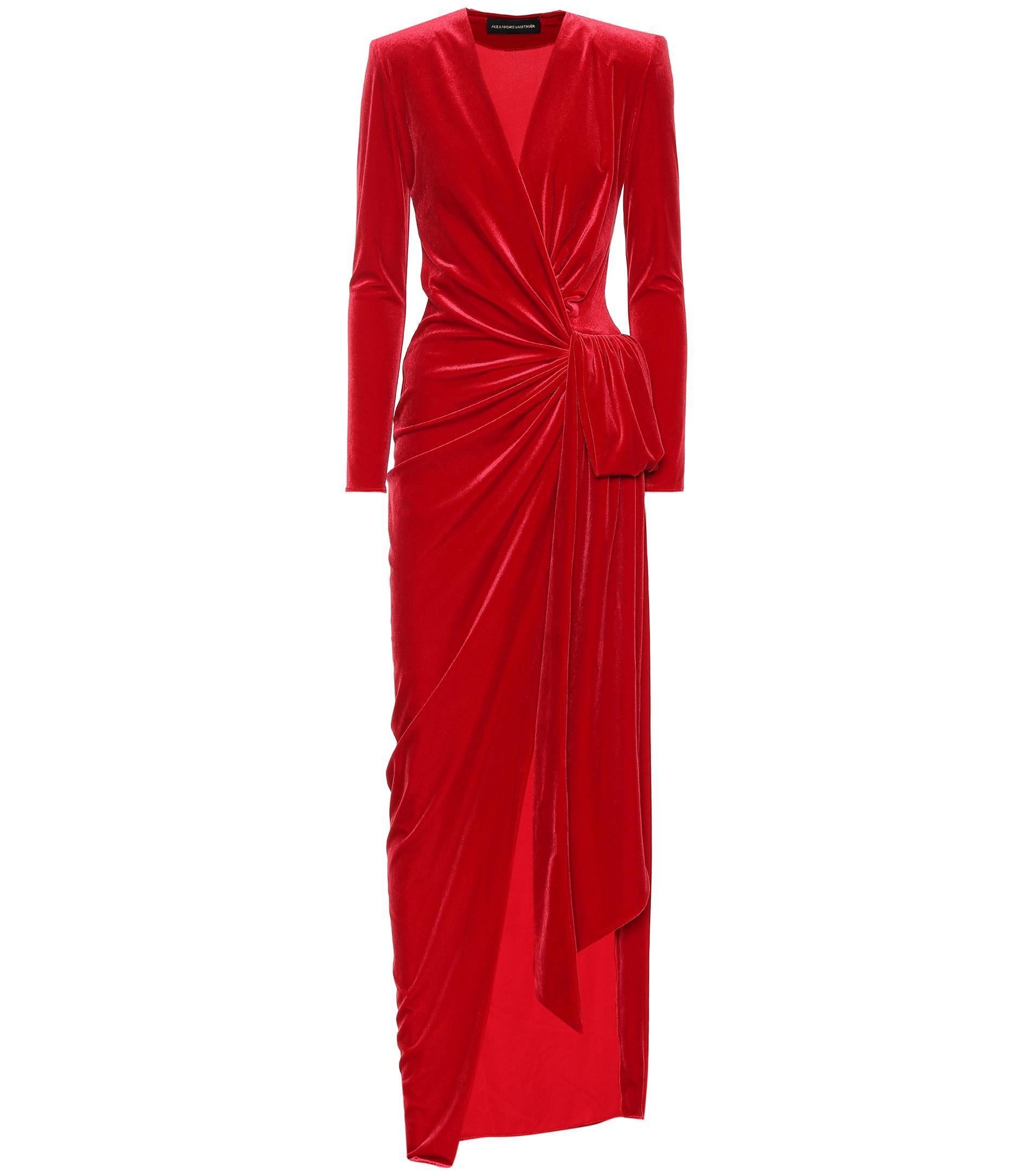 178e1f6064 Alexandre Vauthier Wrap-front Velvet Maxi Dress in Red - Lyst