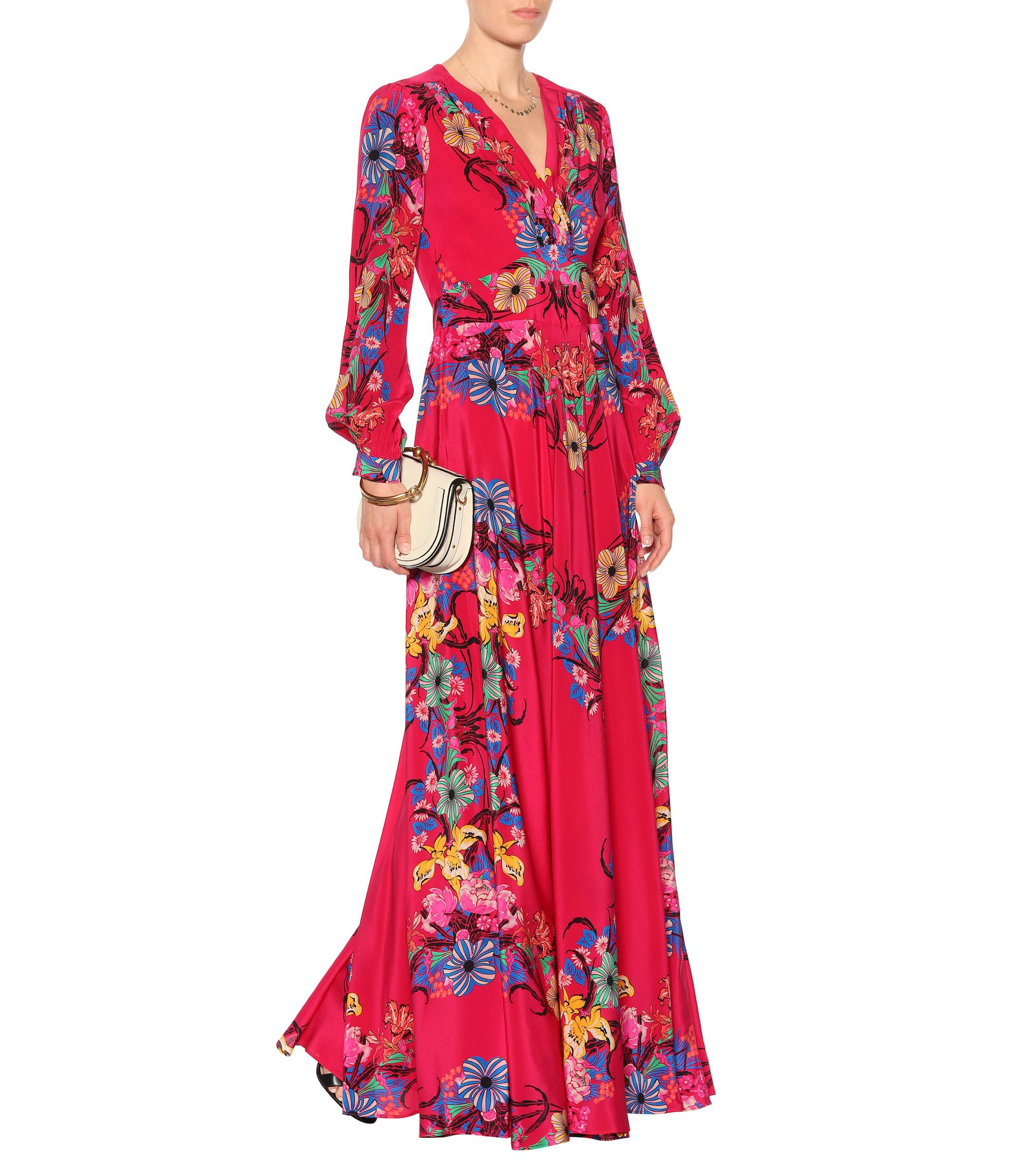 Vestido de seda con motivo floral Etro de Seda de color Rojo