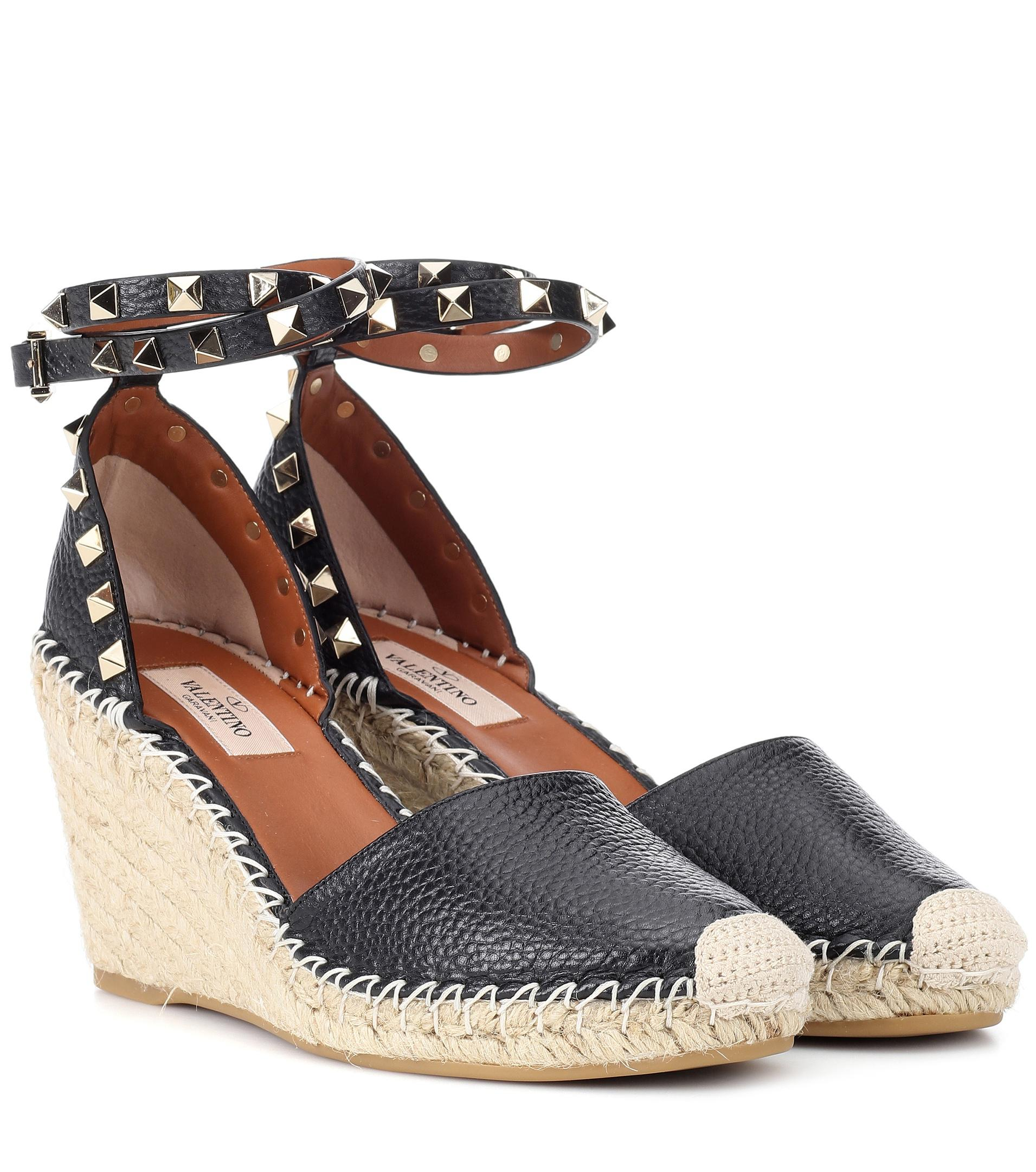 Valentino Rockstud Double Leather Wedge