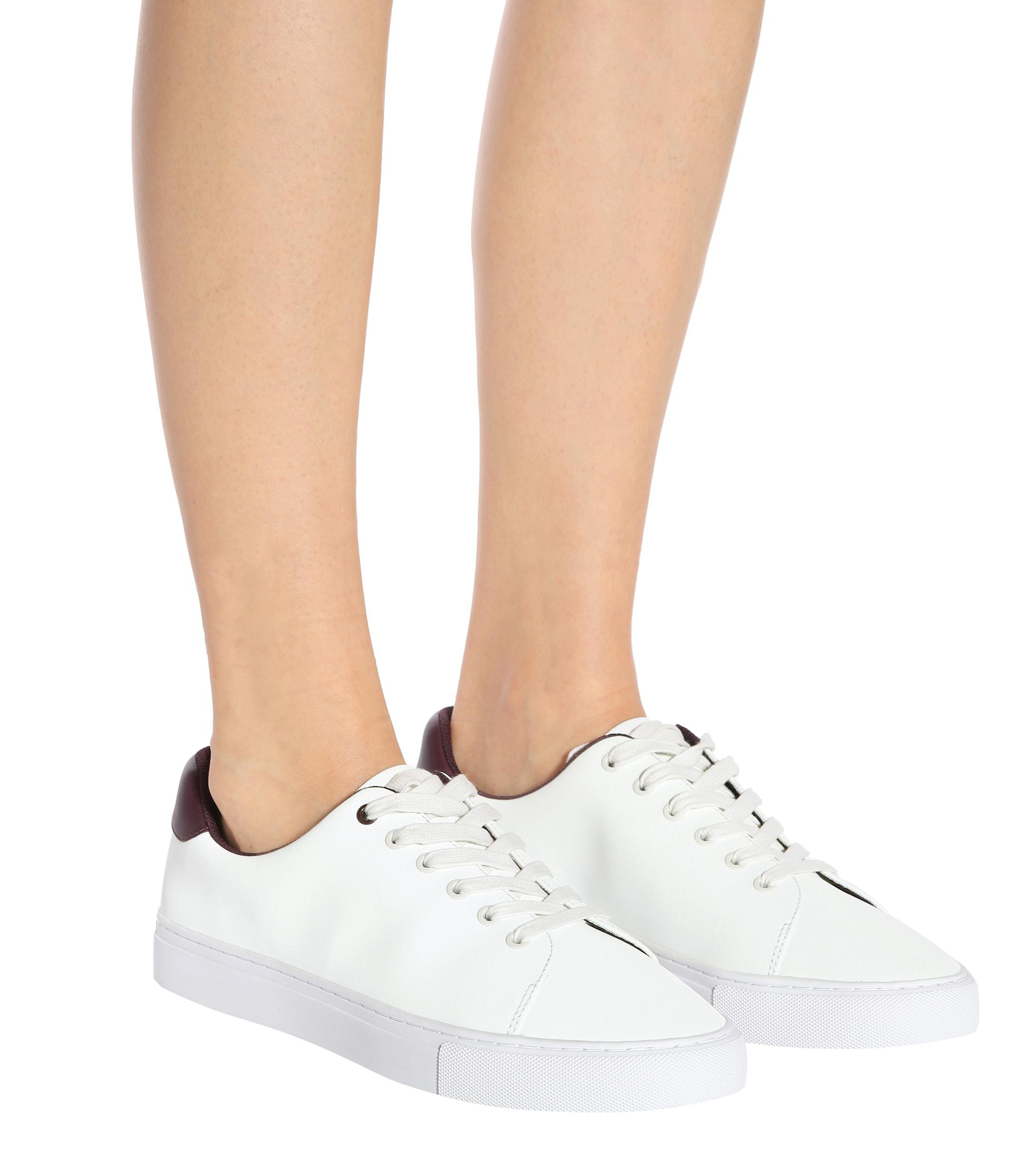 Tory Sport Reflective Leather Sneakers in White