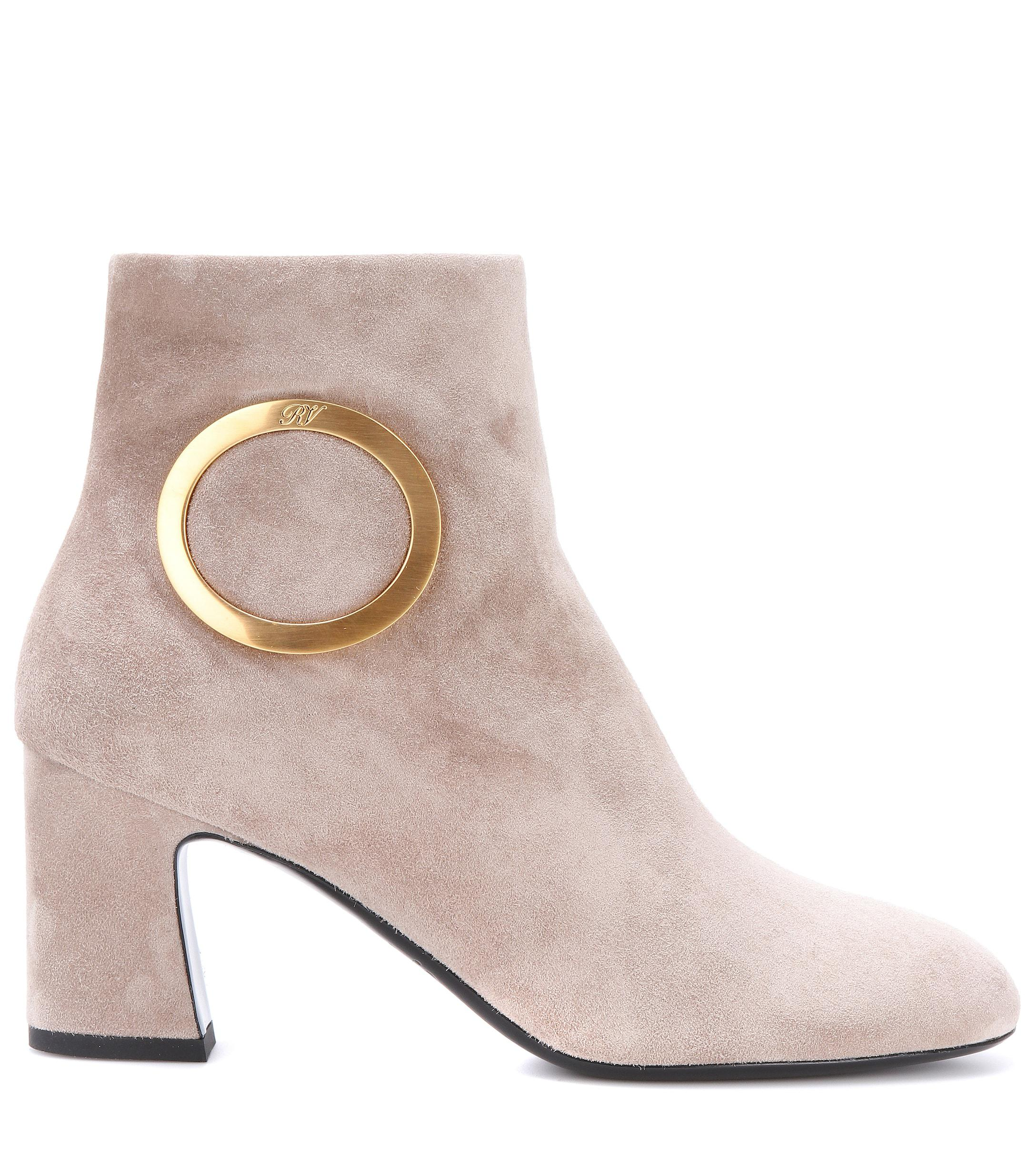 Roger Vivier Chunky Trompette Suede Ankle Boots in Grey (Grey)