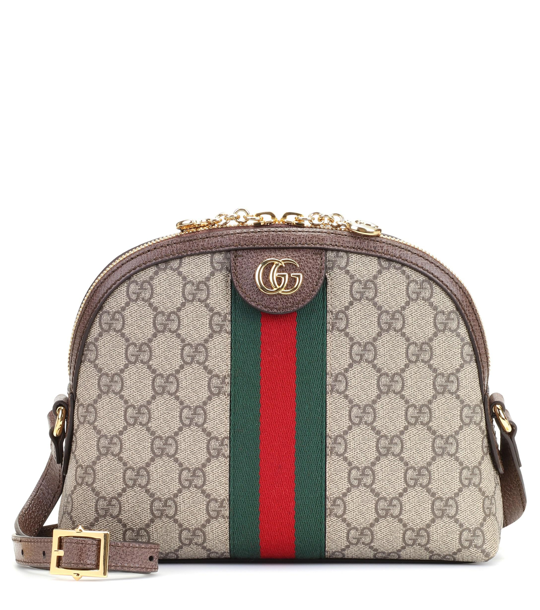 gucci ophidia gg small shoulder bag in brown