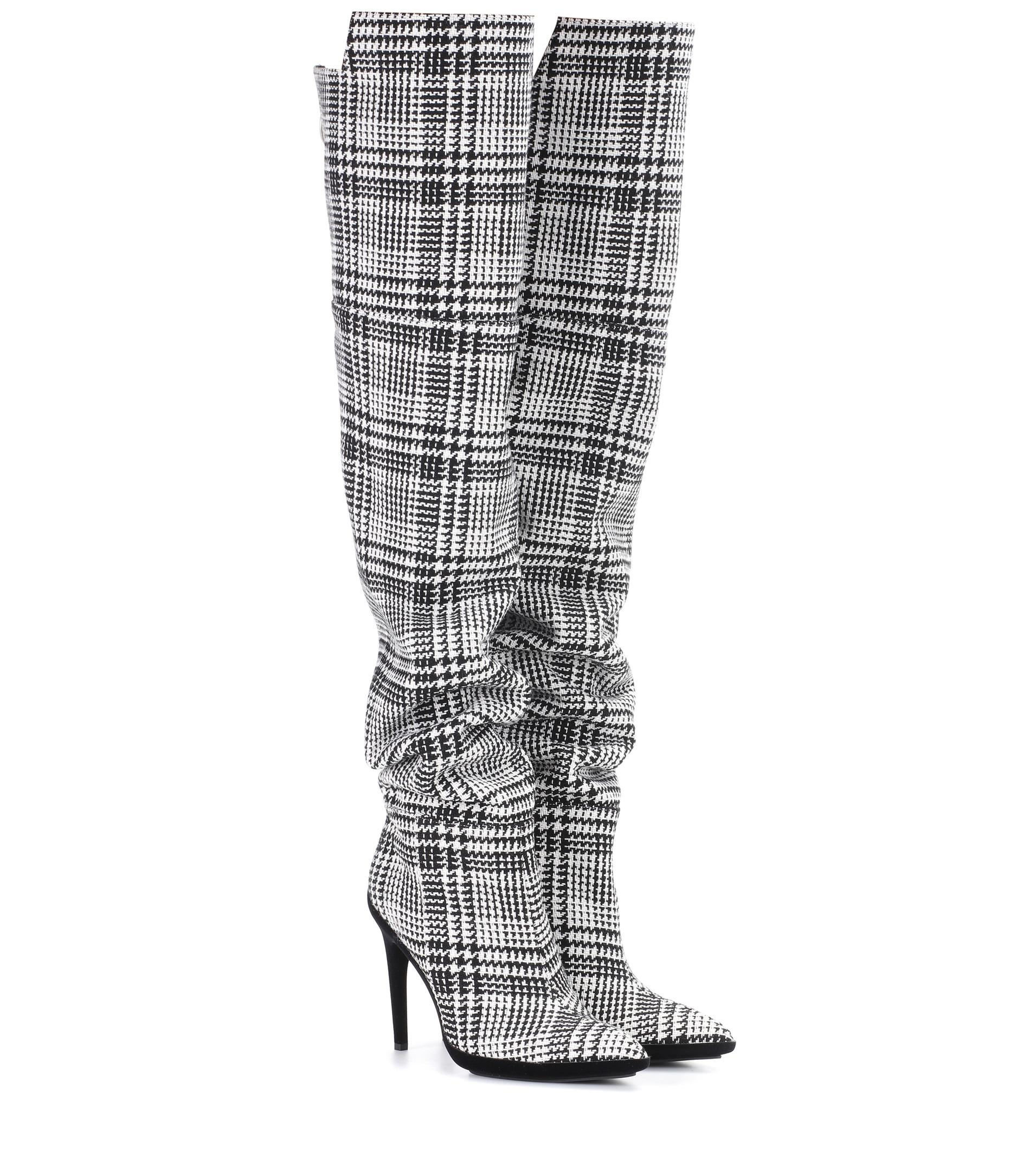 OFF-WHITE Plaid over-the-knee boots tmSXrnHkN