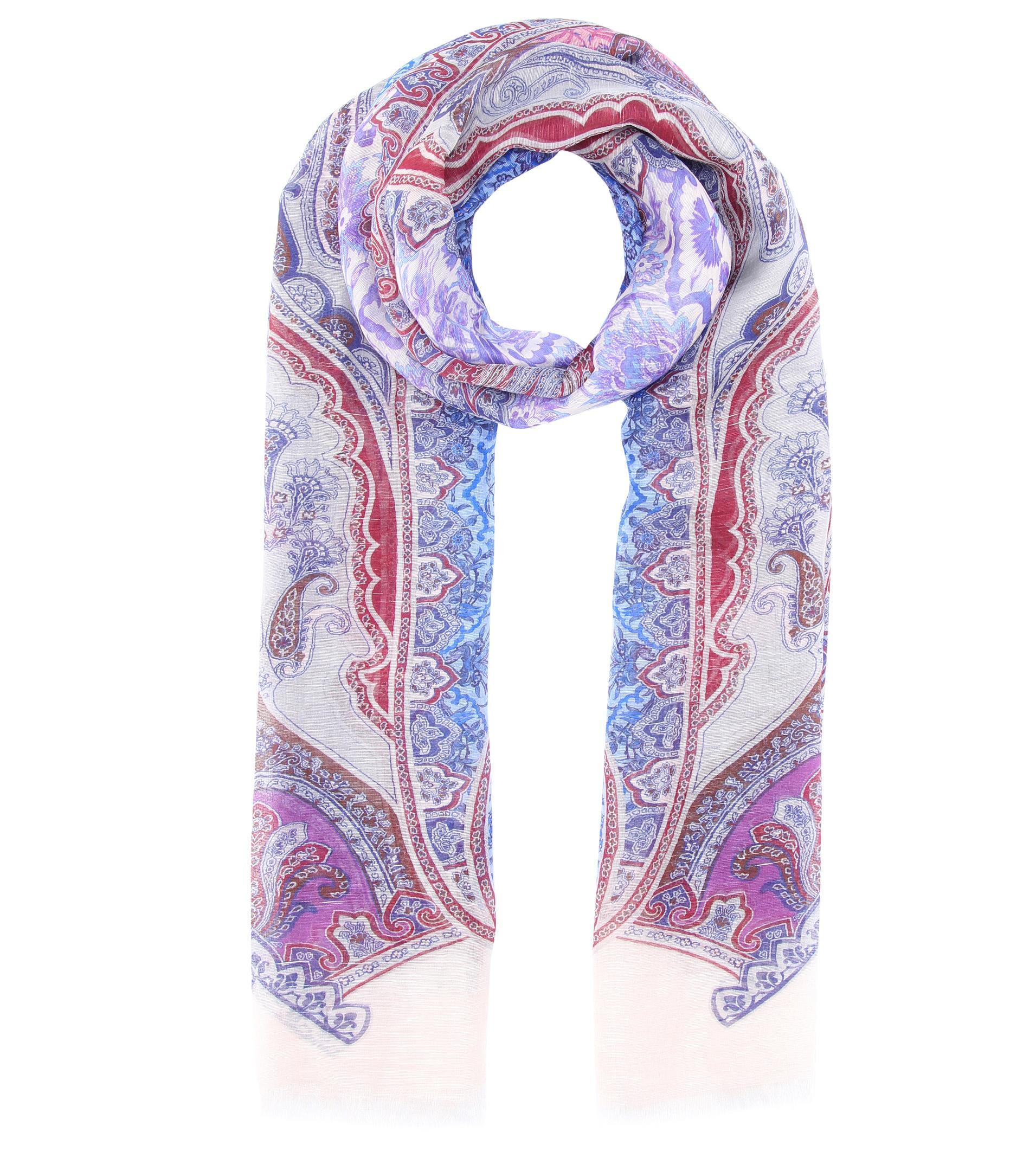 c2b97c47679 Lyst - Foulard en lin et soie imprimés Etro en coloris Violet