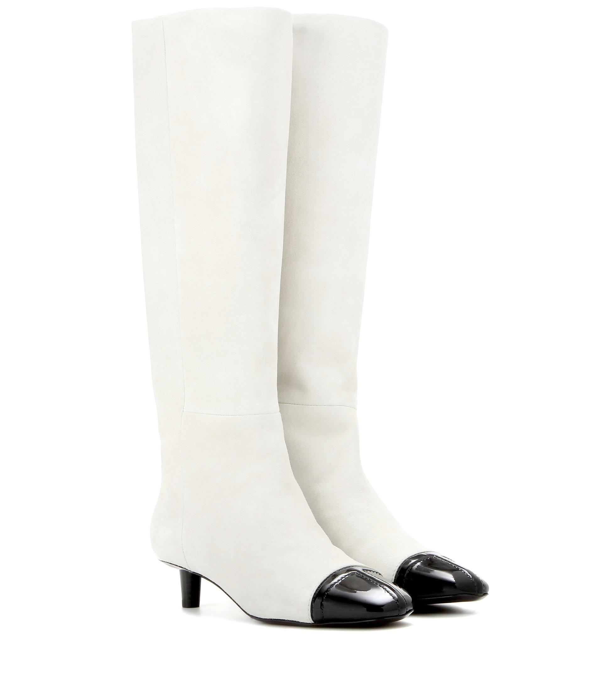 tom ford suede knee high boots in white lyst