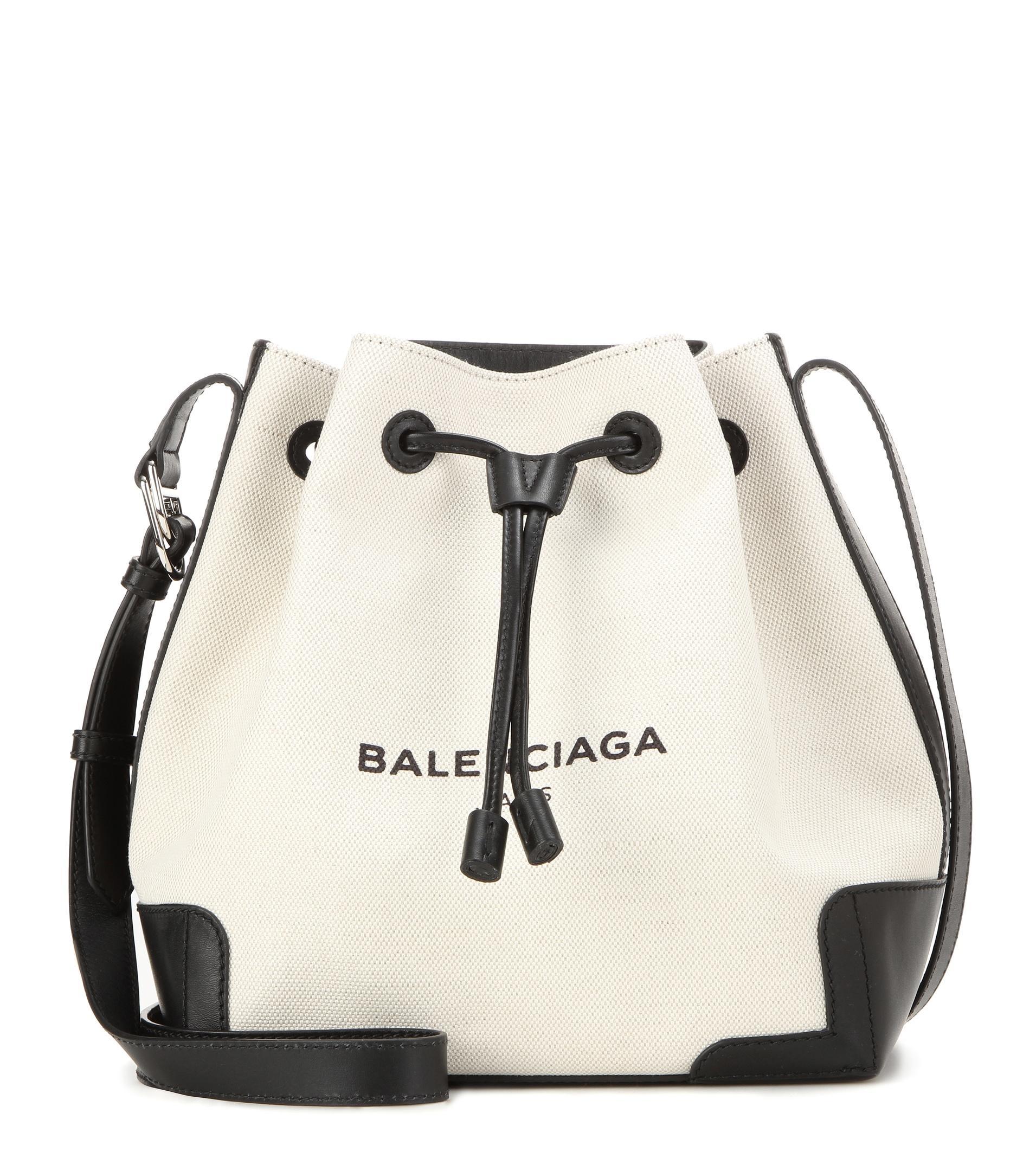 Balenciaga Bucket Leather Trimmed Canvas Shoulder Bag In Black Beige Black Lyst